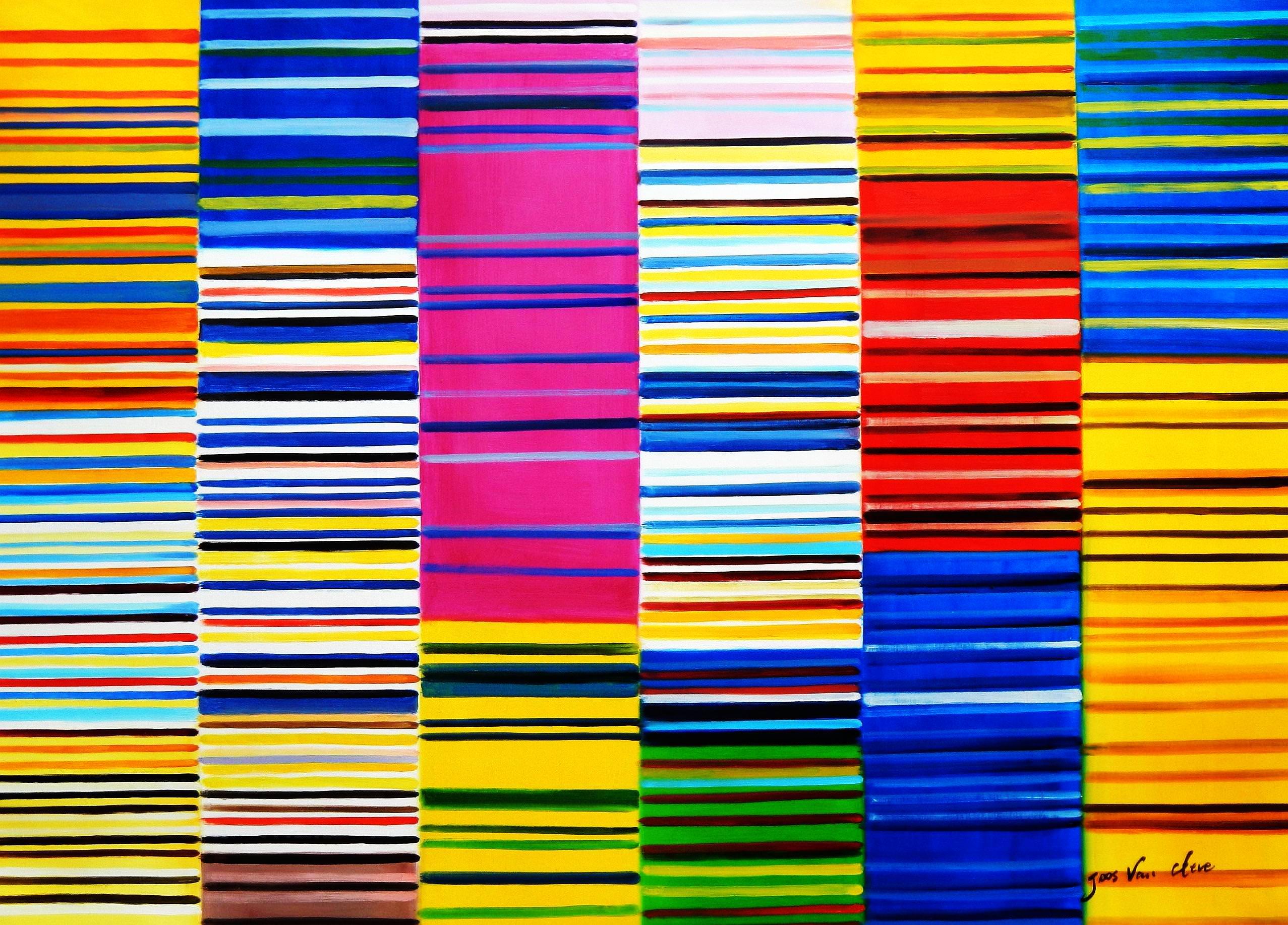 Modern Art - Lorenz stripes homage of Paul Smith i93130 80x110cm Ölgemälde
