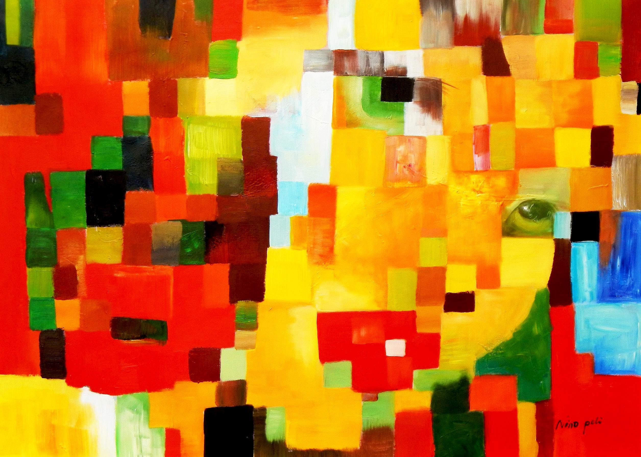 Klee meets Lichtenstein mix - Mädchen ohne Haarband i93183 80x110cm lustiges Ölgemälde