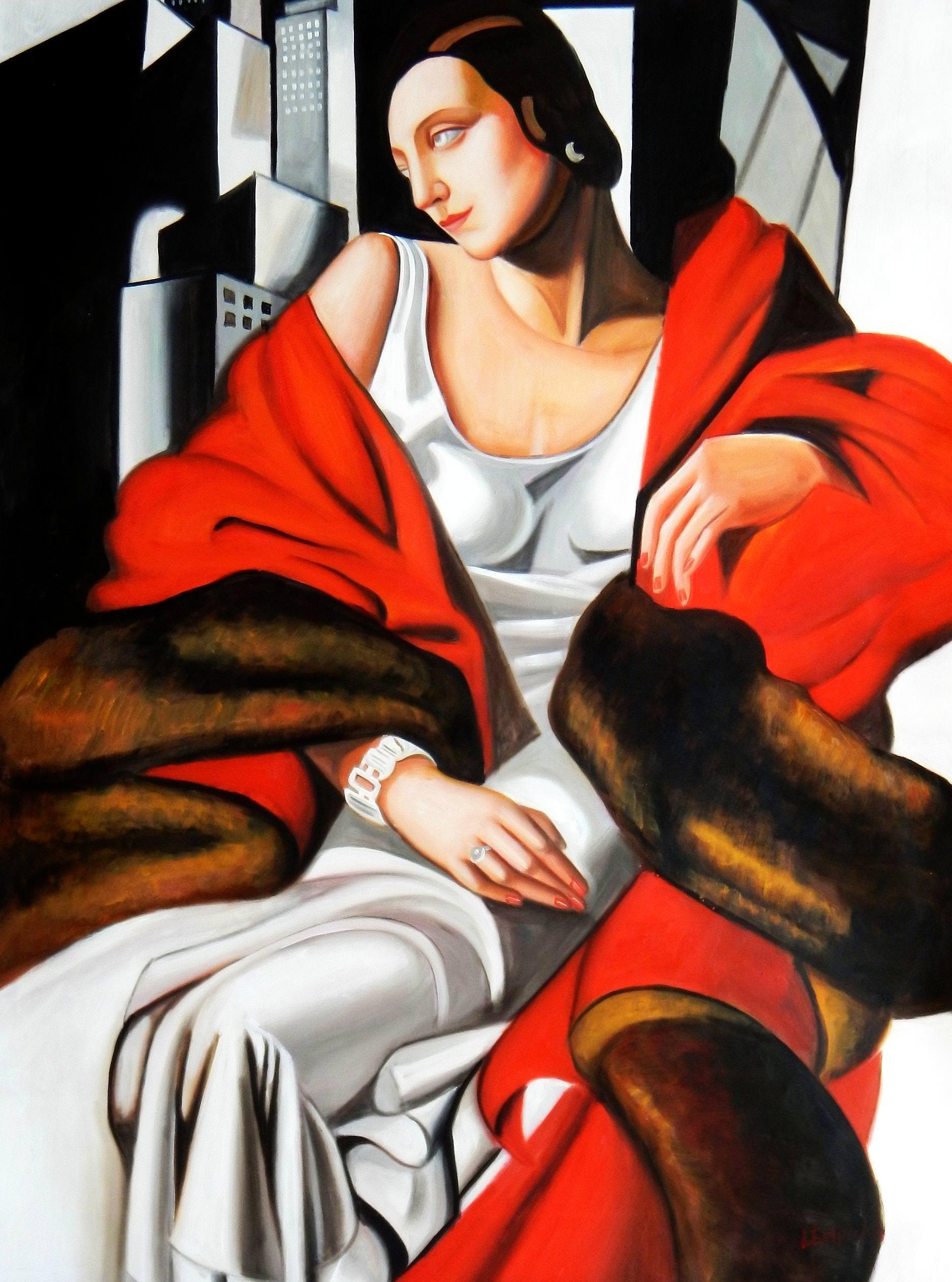 Homage to T. de Lempicka - Portrait der Madame Boucard k93132 90x120cm Art Deco Ölgemälde handgemalt