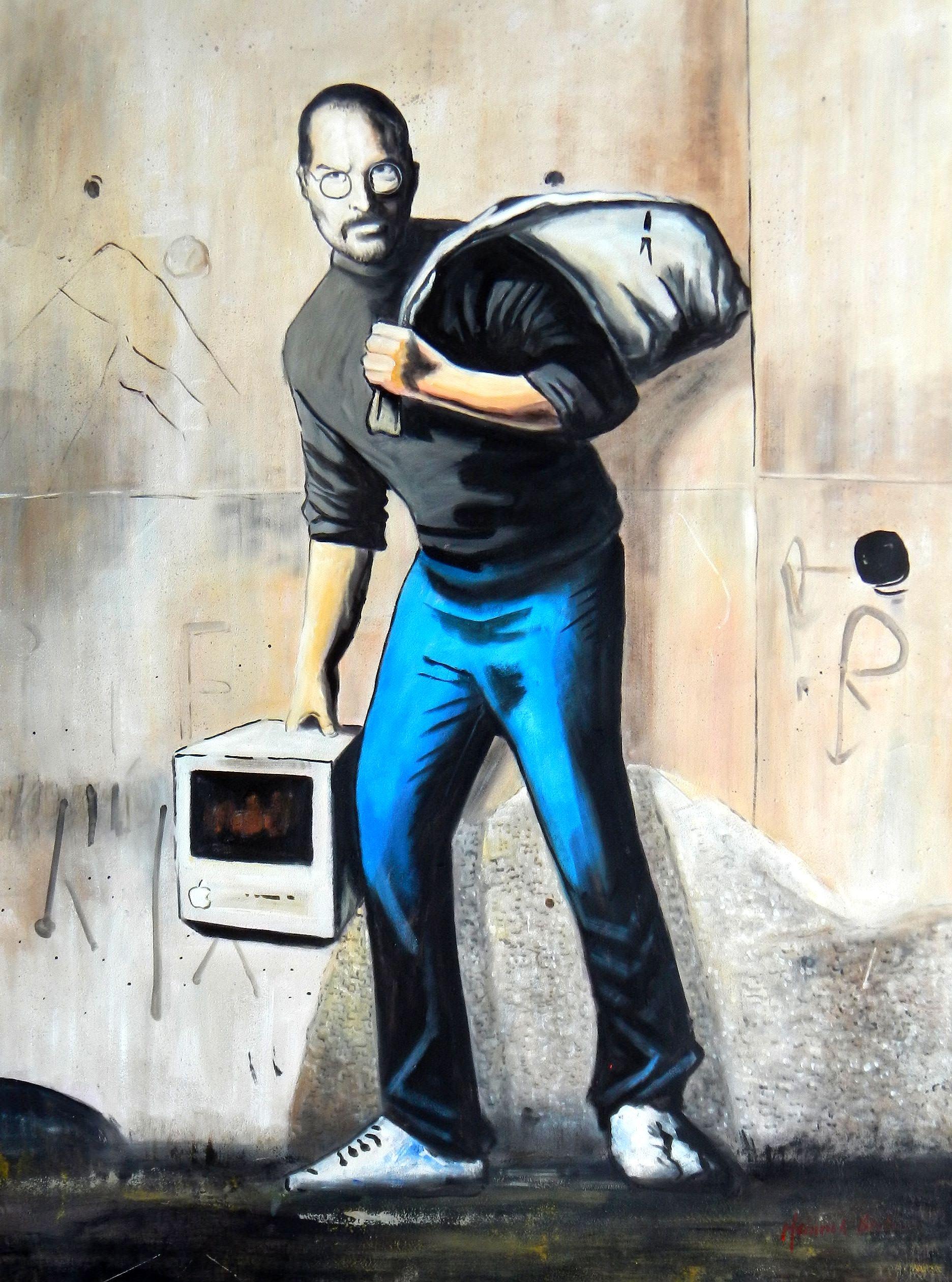 Homage to Banksy - Steves Job k93133 90x120cm exquisites Ölgemälde