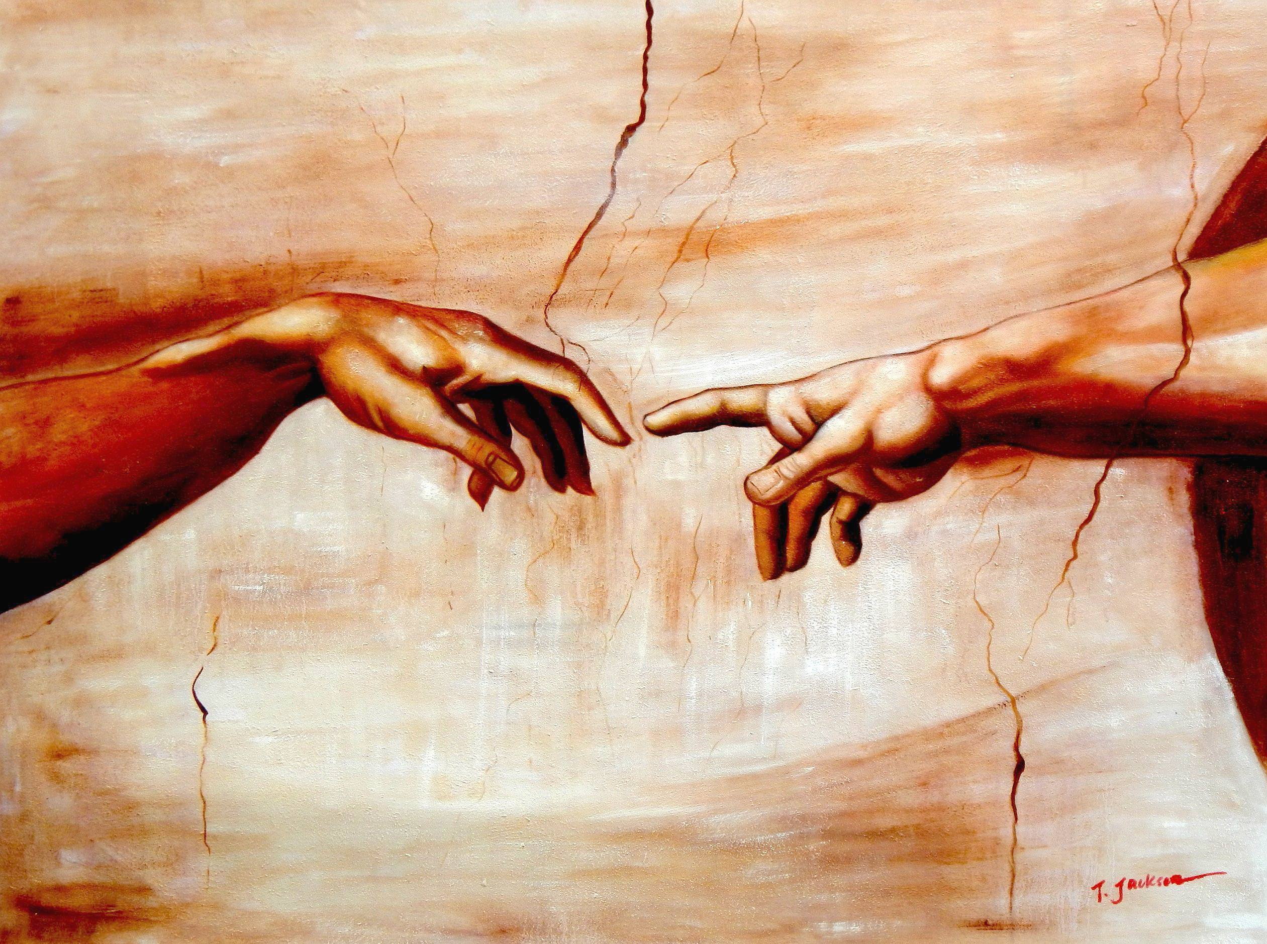 Michelangelo - Die Erschaffung Adams k93143 G 90x120cm imposantes Ölgemälde