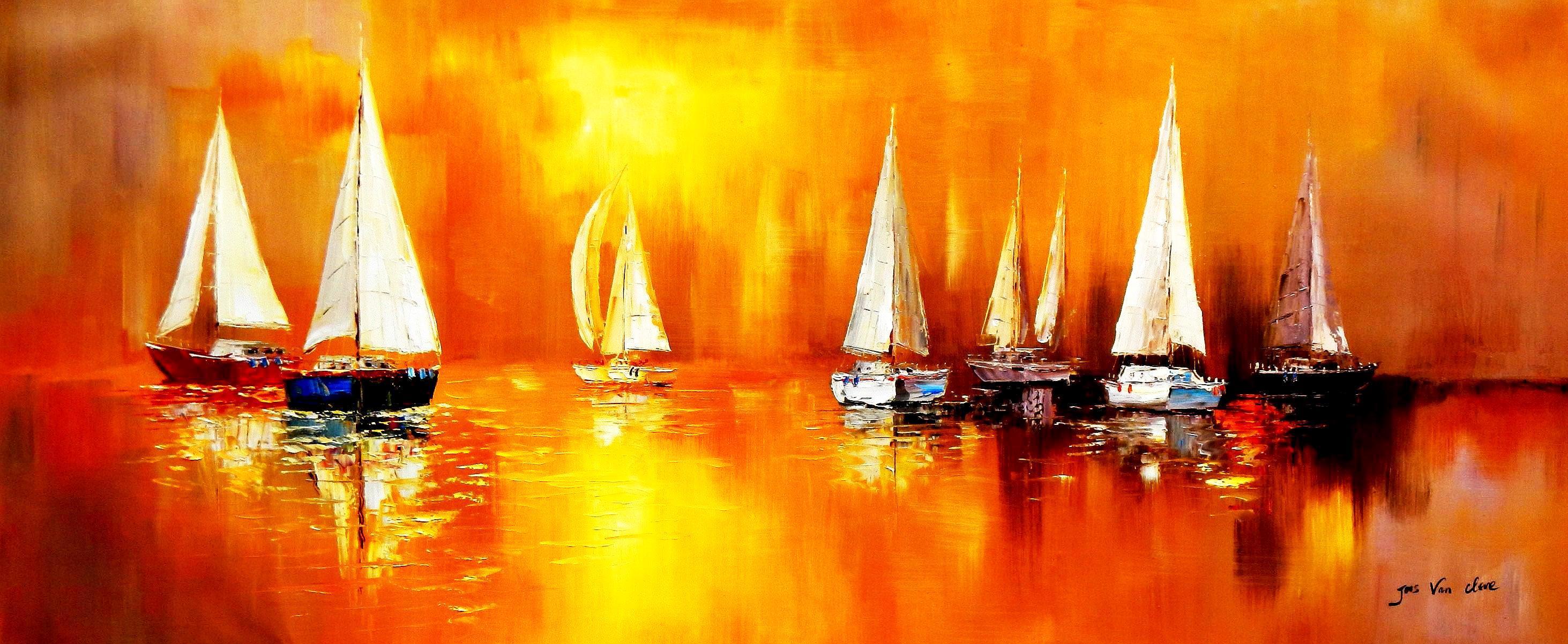 Segelboote auf dem Gardasee t93161 75x180cm modernes Gemälde handgemalt