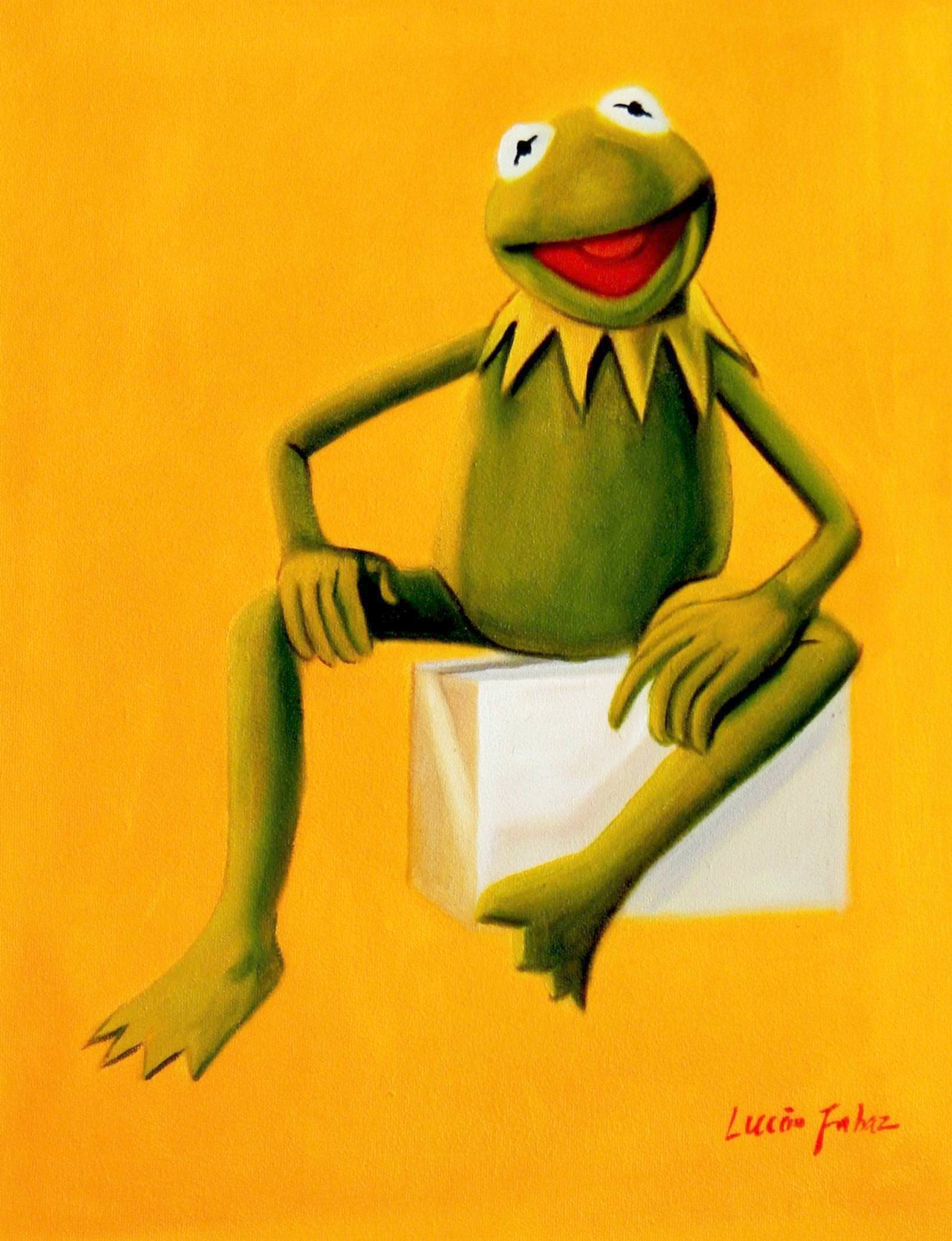 Pop Art - Muppets Kermit auf Gelb a93201 30x40cm spektakuläres Ölbild handgemalt