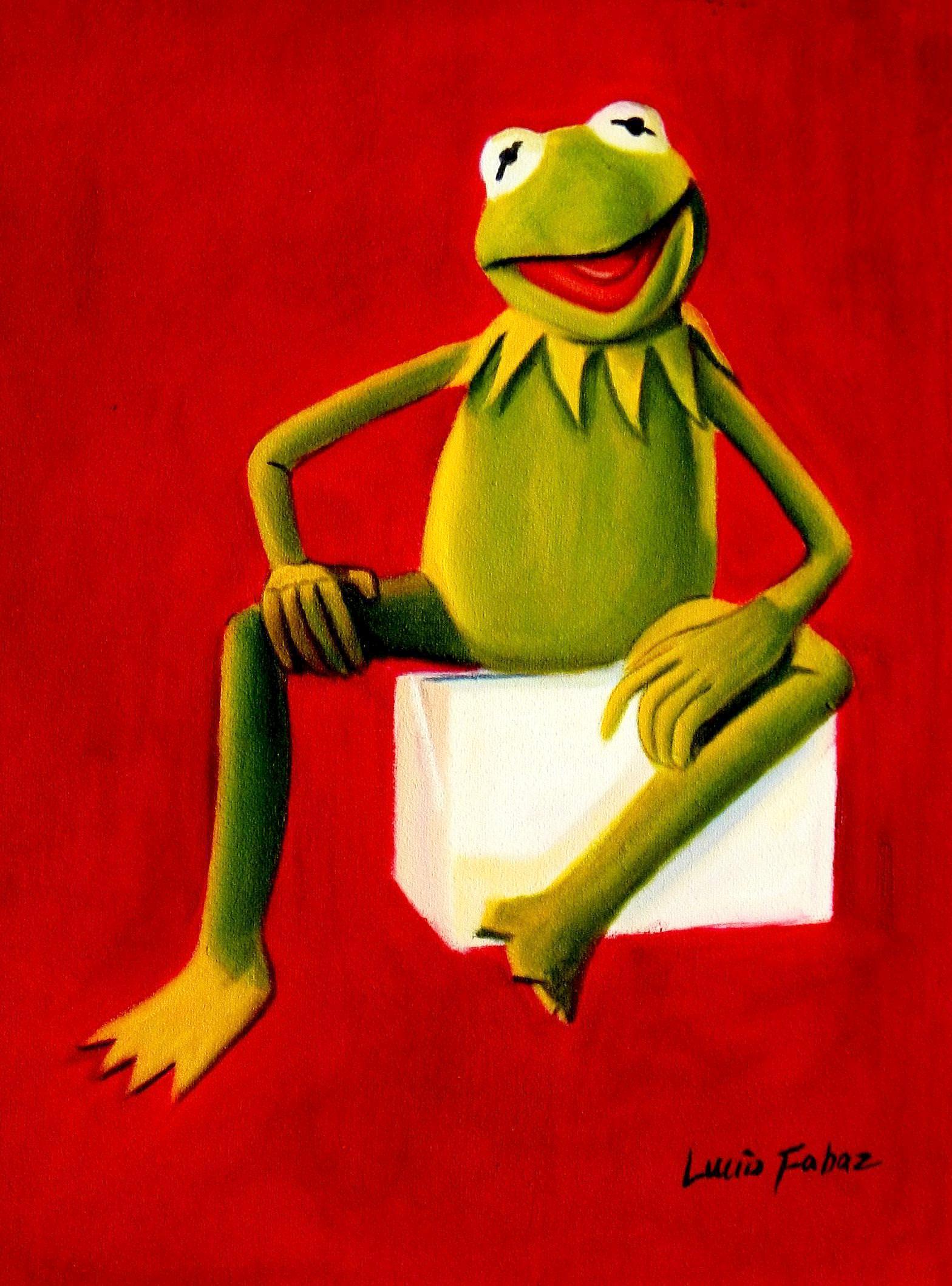 Pop Art - Muppets Kermit auf Rot a93208 30x40cm spektakuläres Ölbild handgemalt