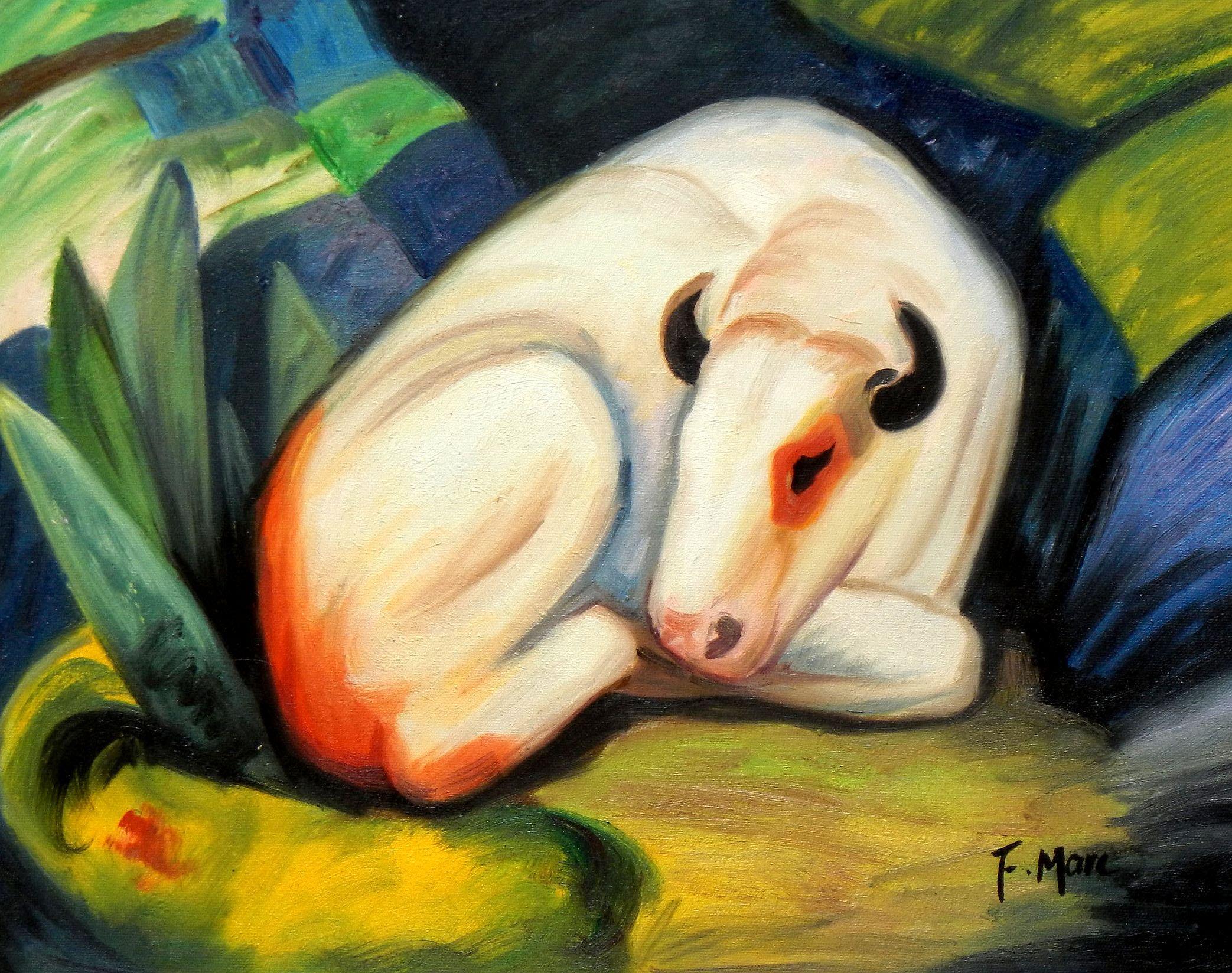 Franz Marc - Der weiße Bulle a93224 30x40cm Expressionismus Ölgemälde