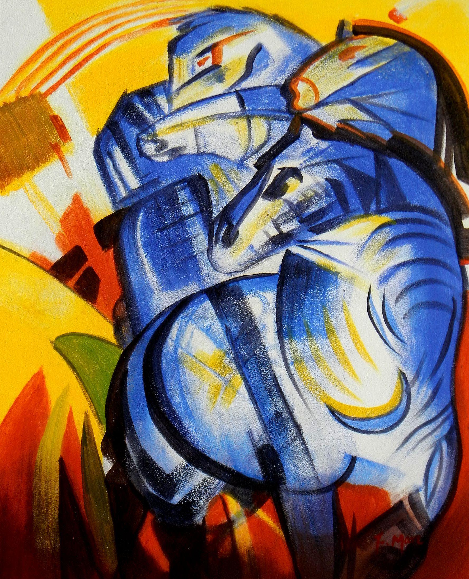 Franz Marc - Turm der blauen Pferde b93236 40x50cm Expressionismus Ölgemälde handgemalt