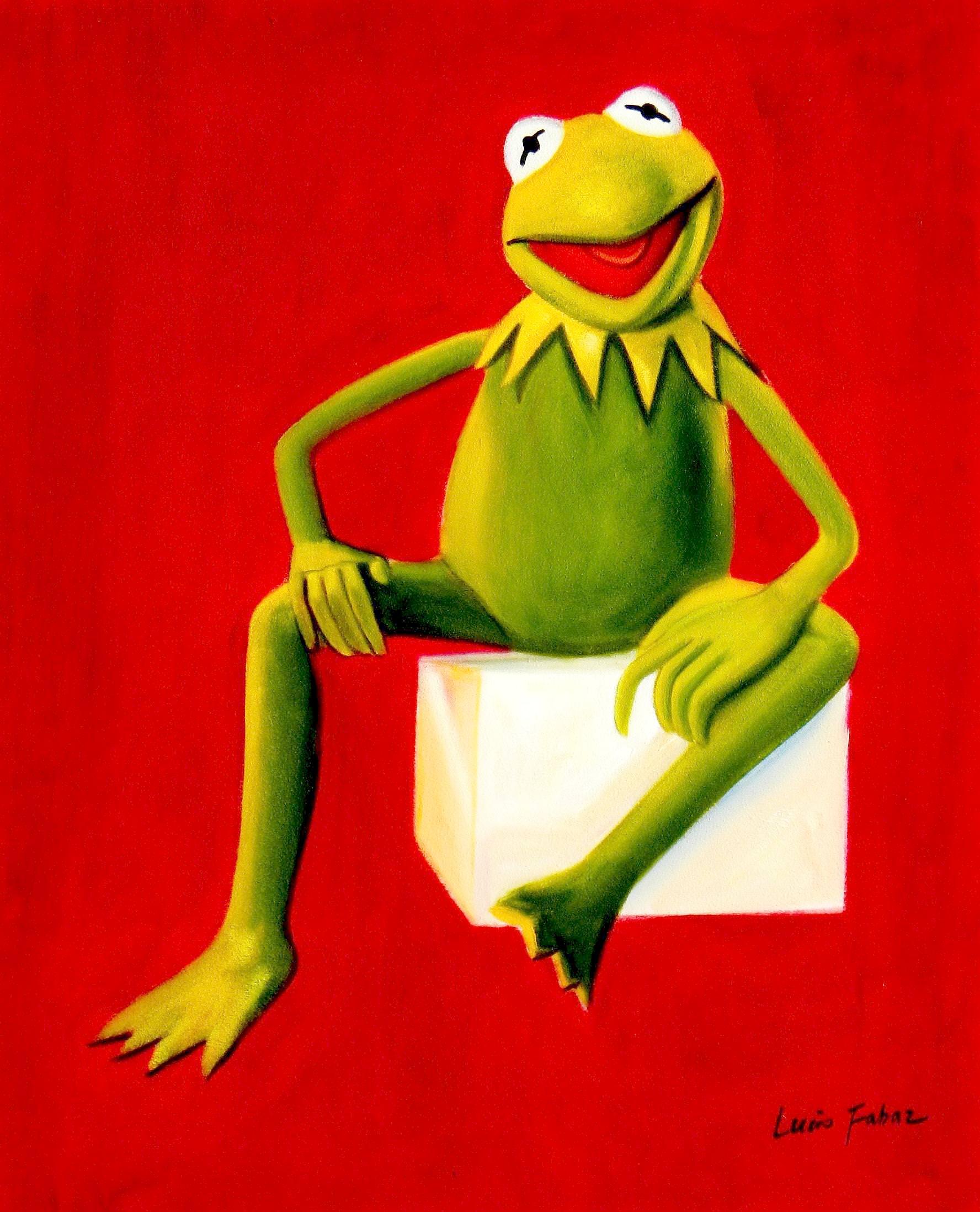 Pop Art - Muppets Kermit auf Rot b93238 40x50cm spektakuläres Ölbild handgemalt