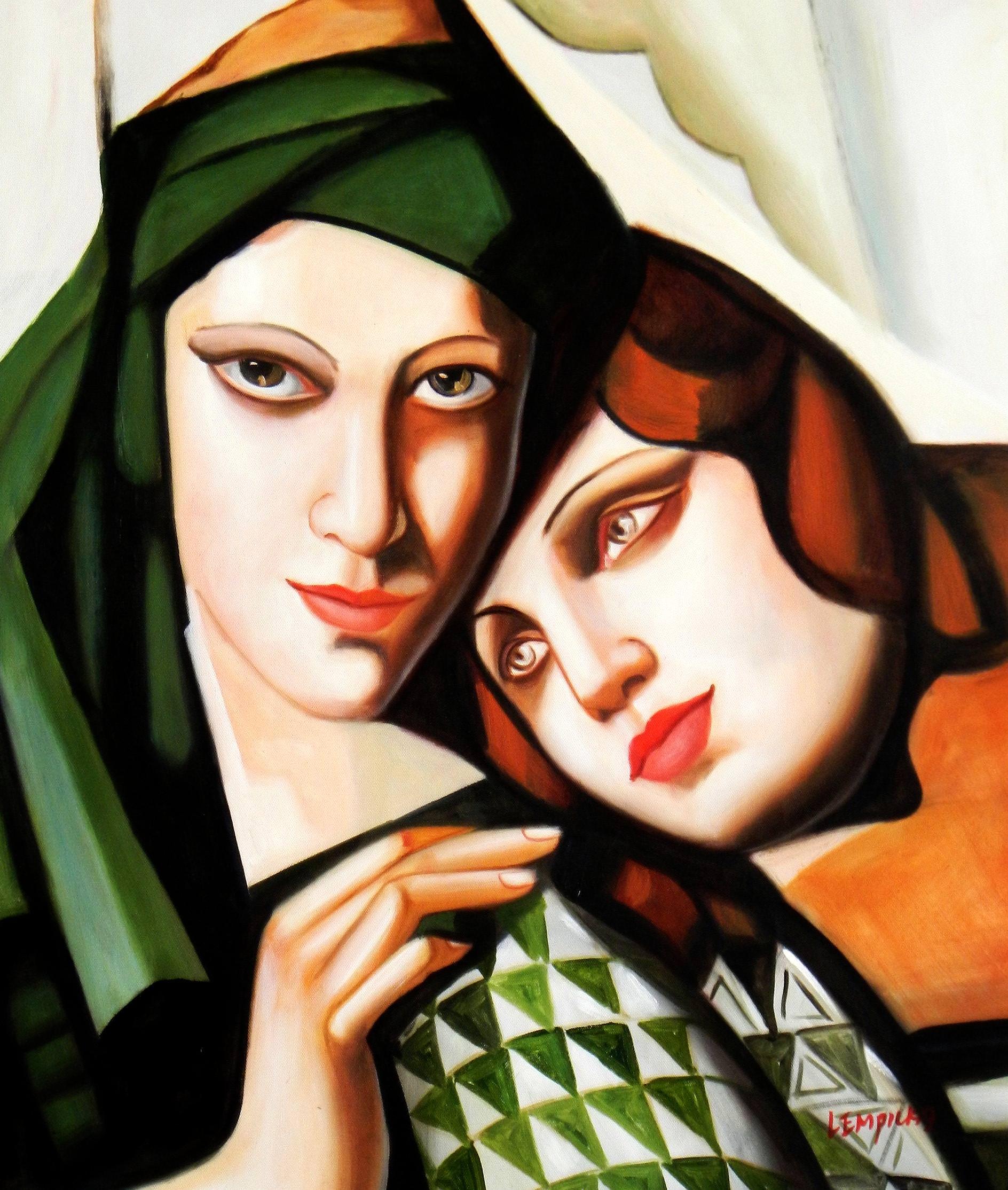 Homage of Tamara de Lempicka - Der grüne Turban c93269 50x60cm exquisites Ölbild