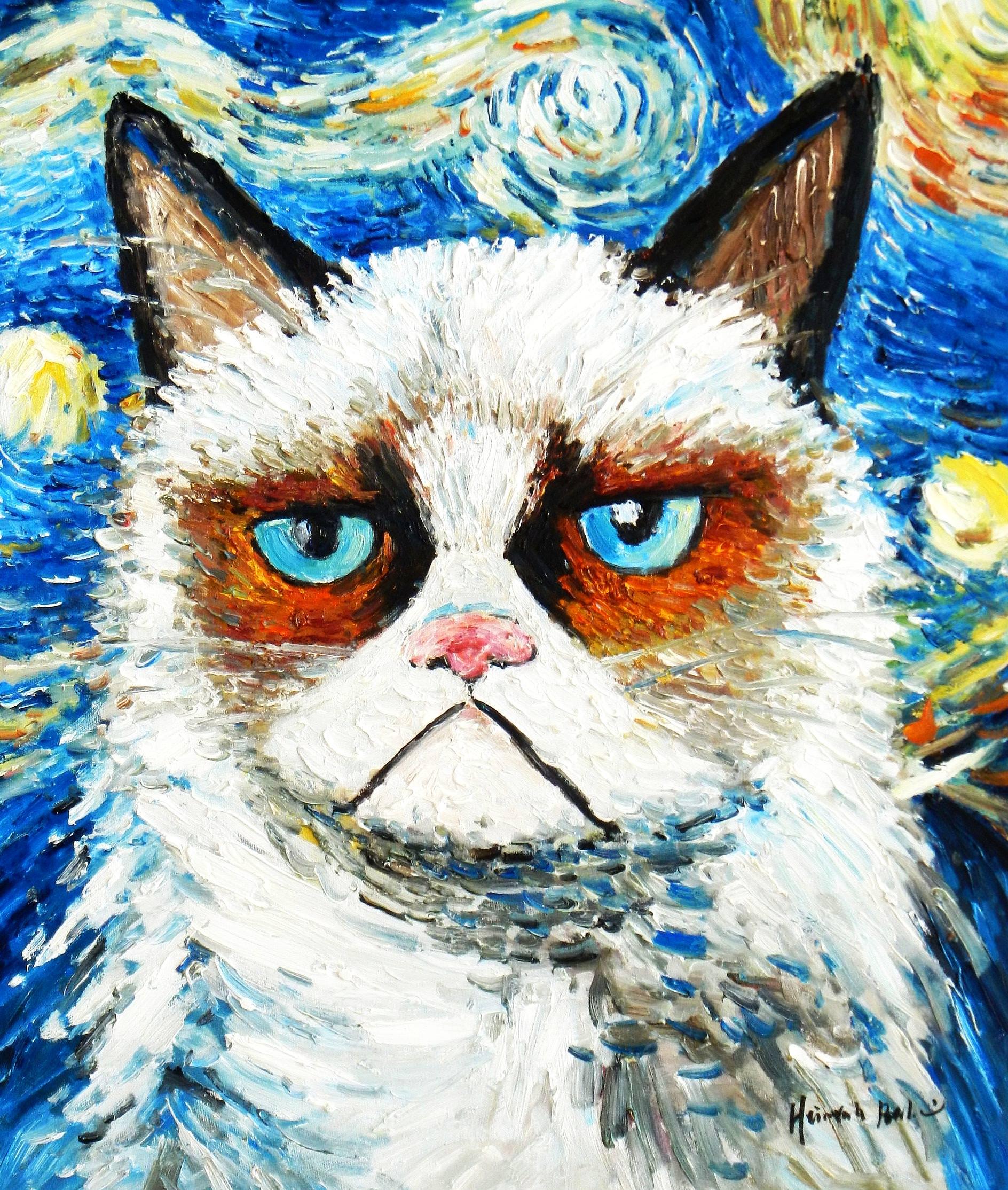 Modern Art - Grumpy cat meets Van Gogh c93273 50x60cm exquisites Ölgemälde