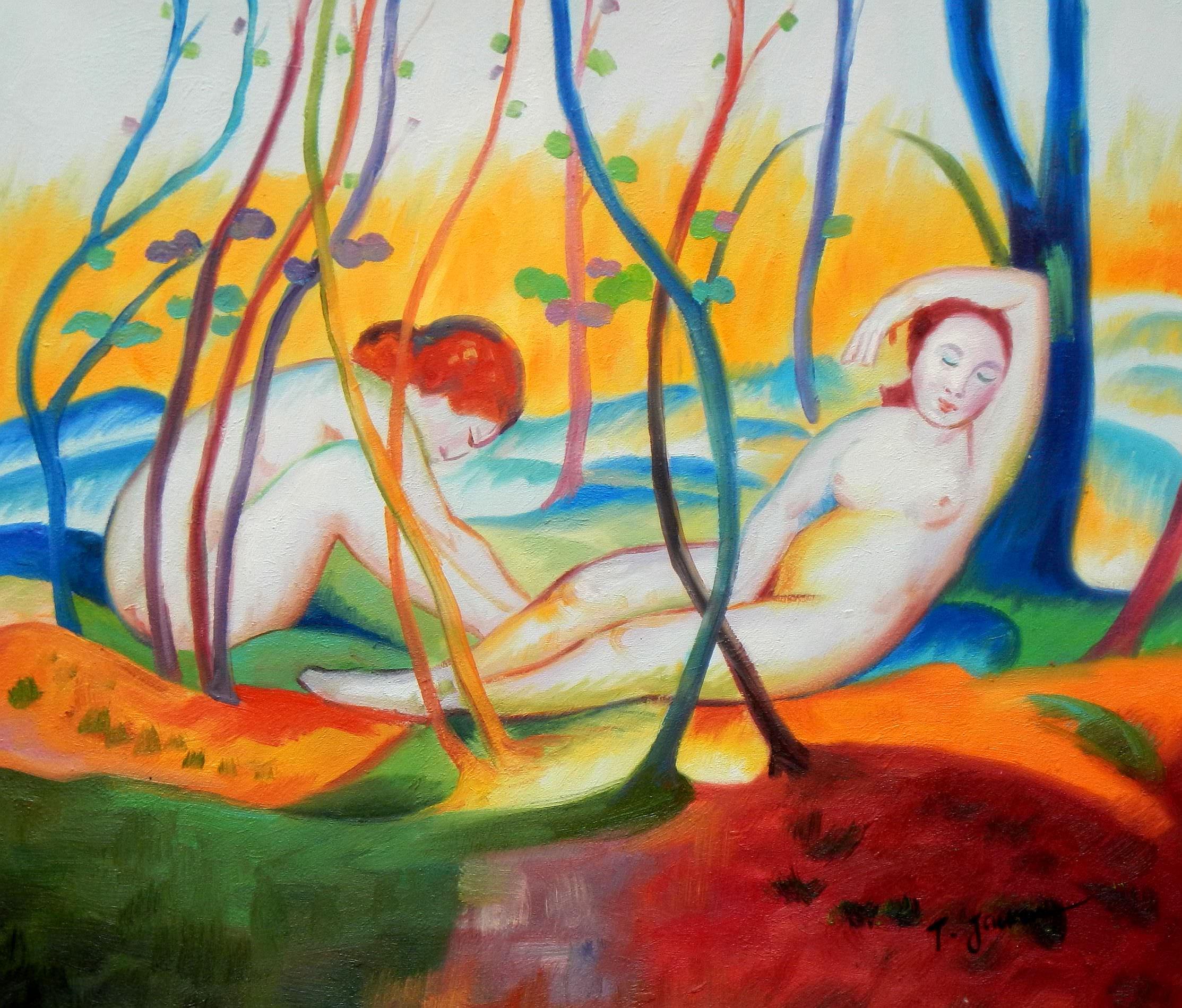 Franz Marc - Akte unter Bäumen c93286 50x60cm Ölbild handgemalt