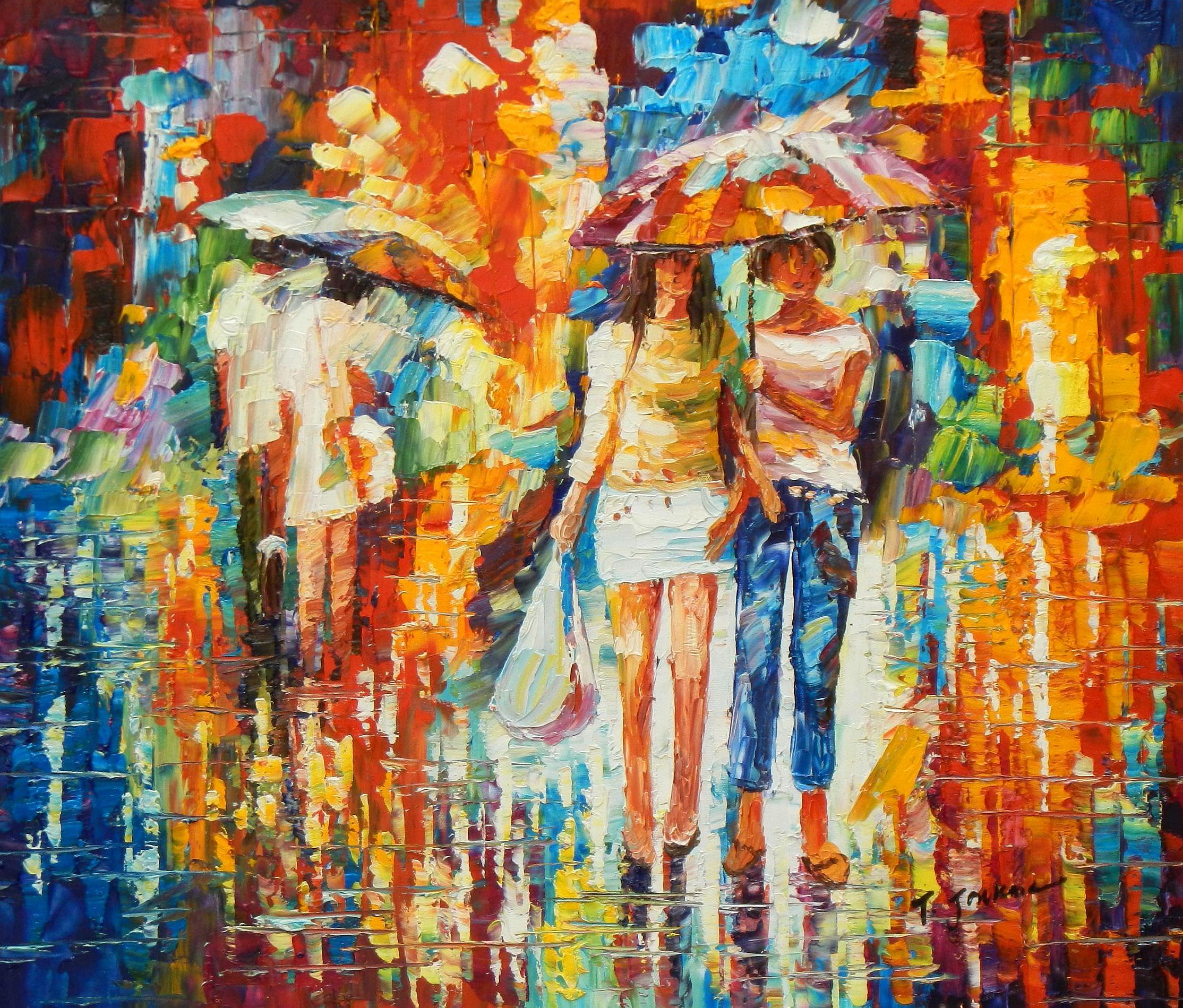 Modern Art - Umbrella walk c93324 50x60cm modernes Ölgemälde