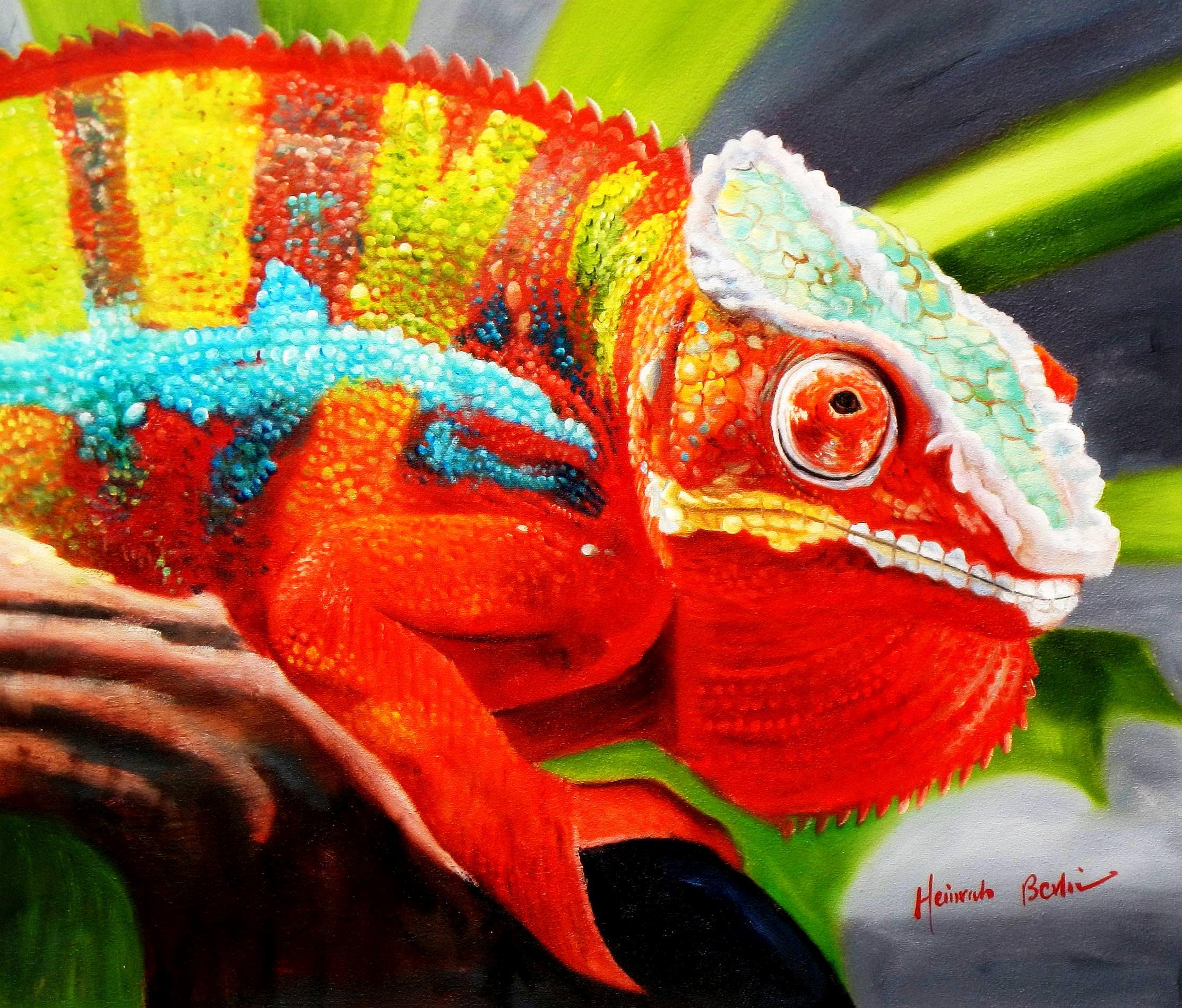 Modern Art - Chamäleon Farben der Natur c93329 50x60cm Ölbild handgemalt