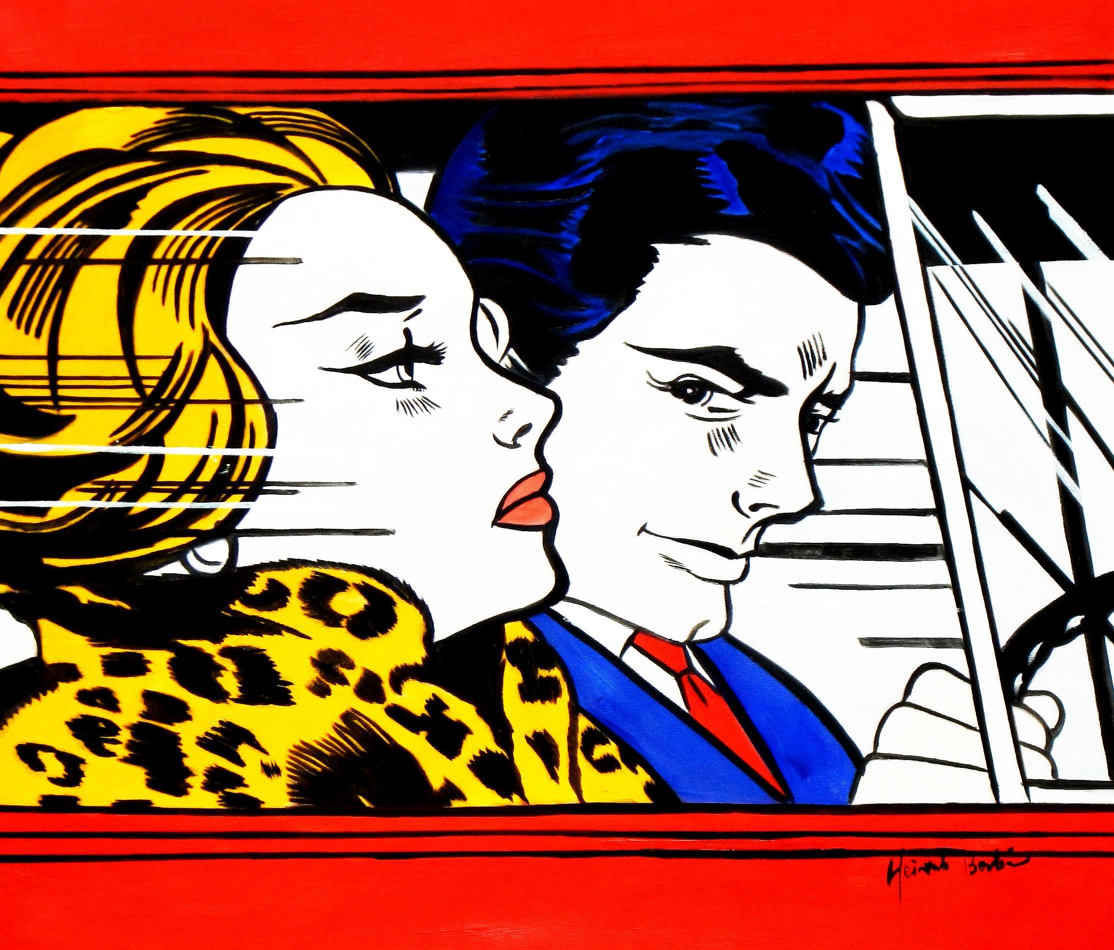 Homage to Roy Lichtenstein - In the car c93330 50x60cm modernes Ölgemälde