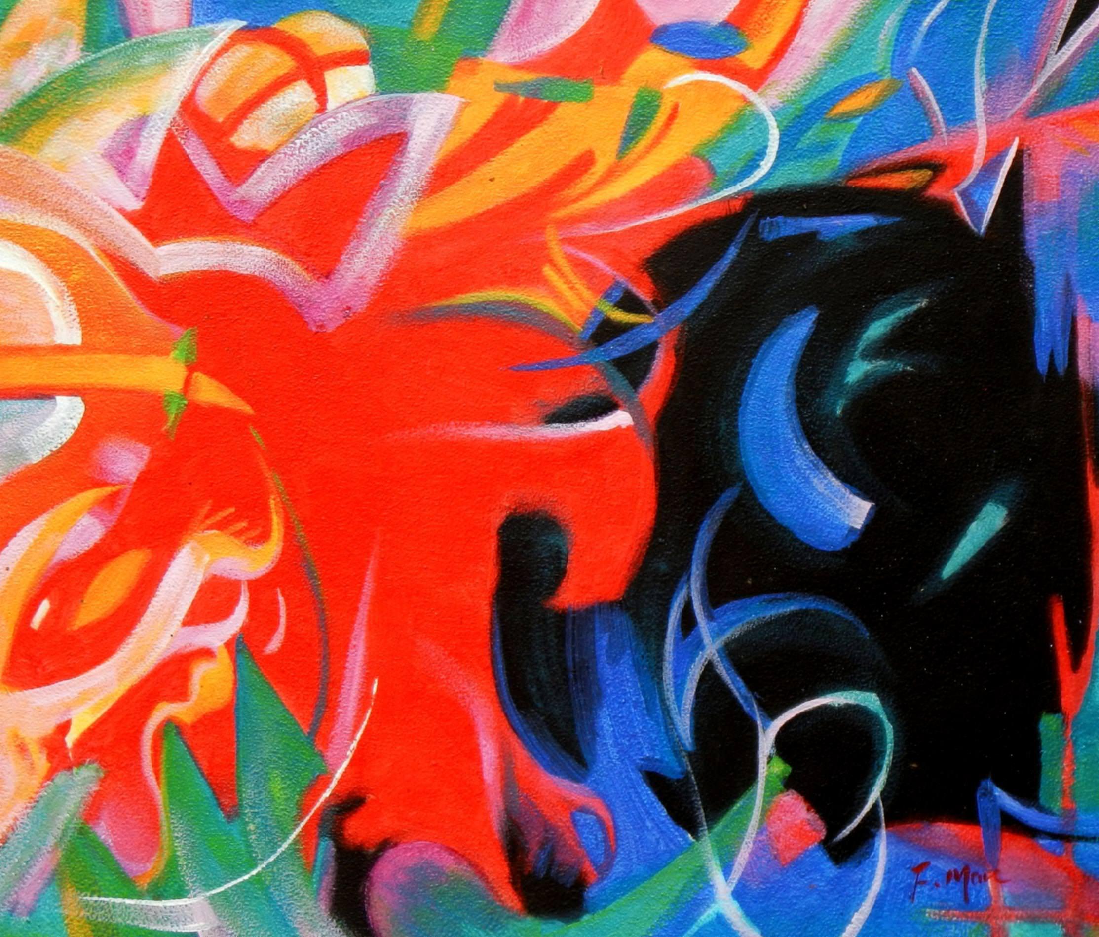 Franz Marc - Fighting Forms c93342 50x60cm Expressionismus Ölgemälde