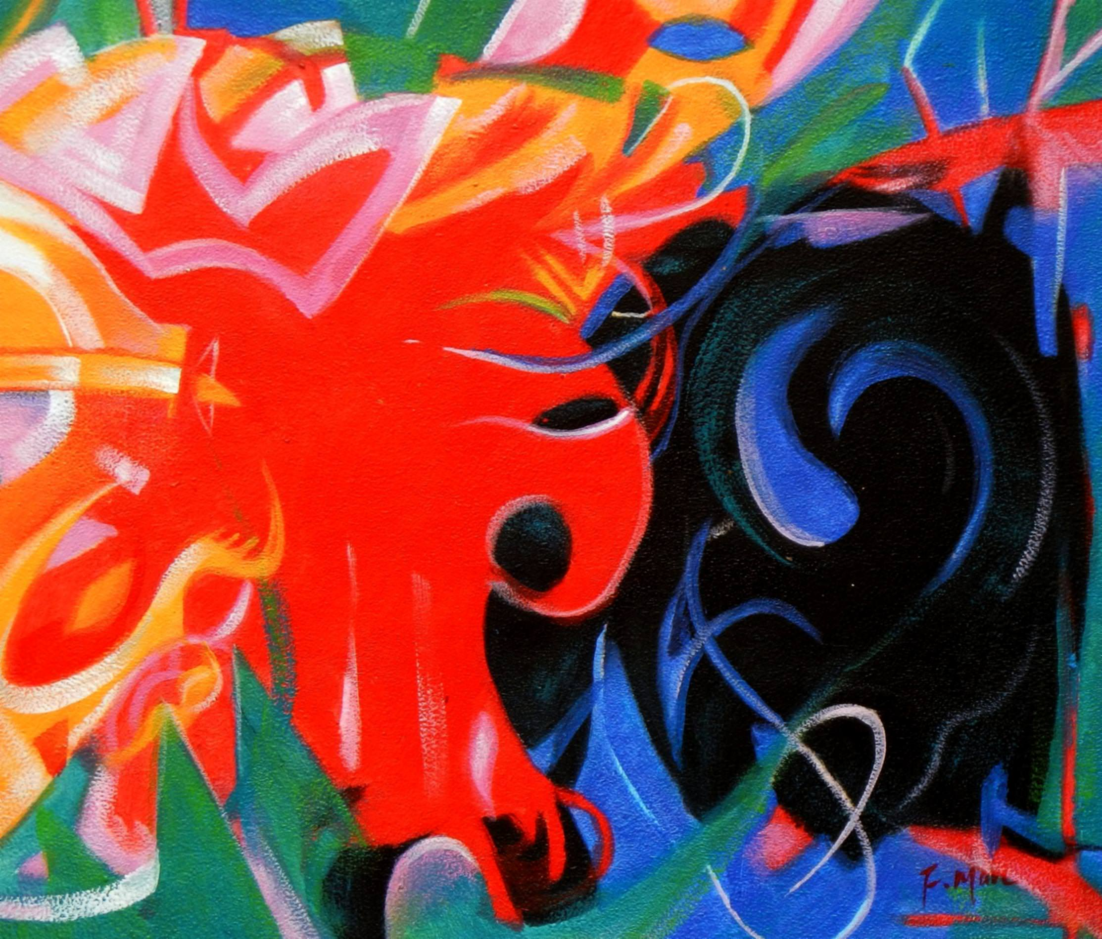 Franz Marc - Fighting Forms c93343 50x60cm Expressionismus Ölgemälde