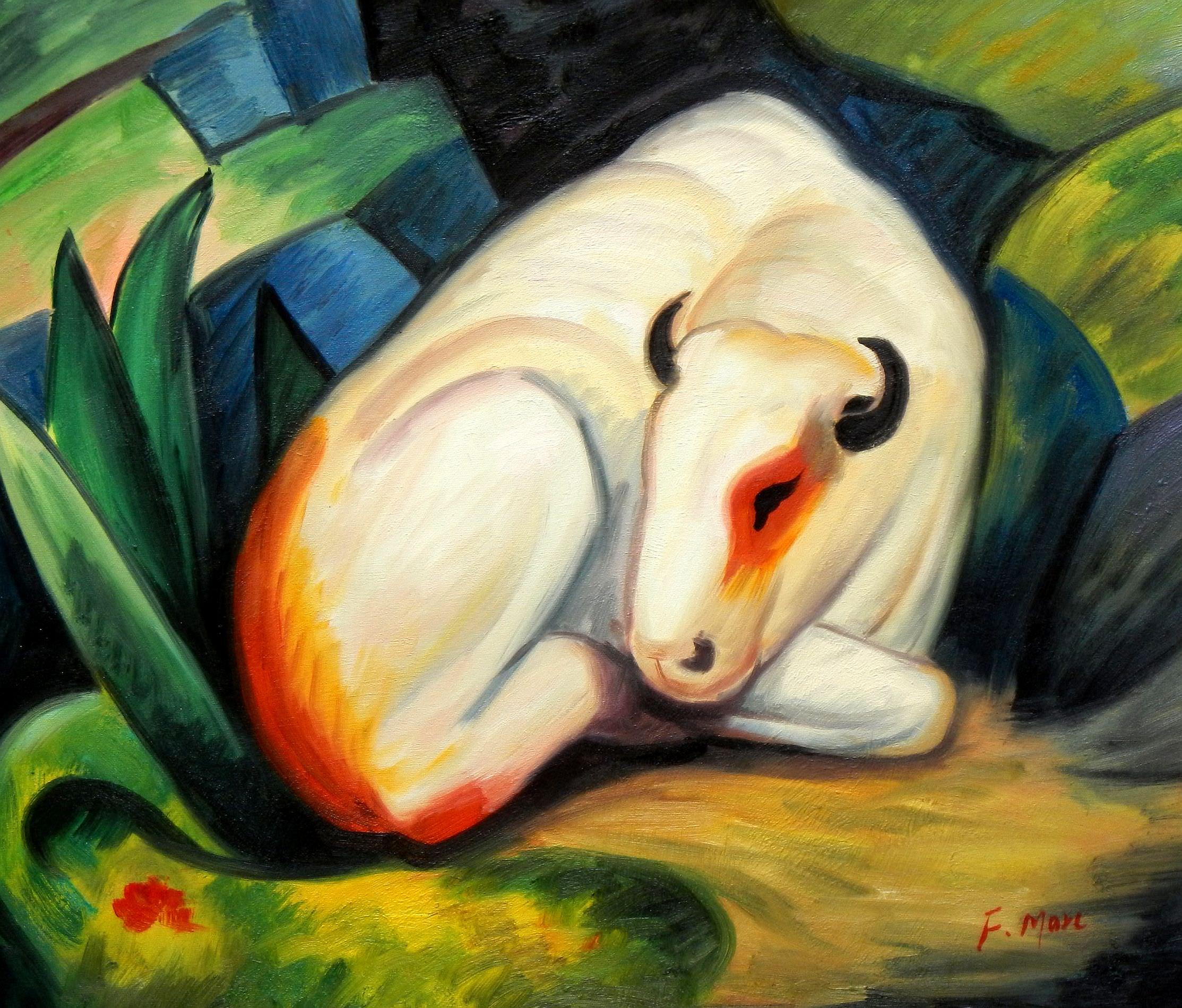 Franz Marc - Der weiße Bulle c93344 50x60cm Expressionismus Ölgemälde