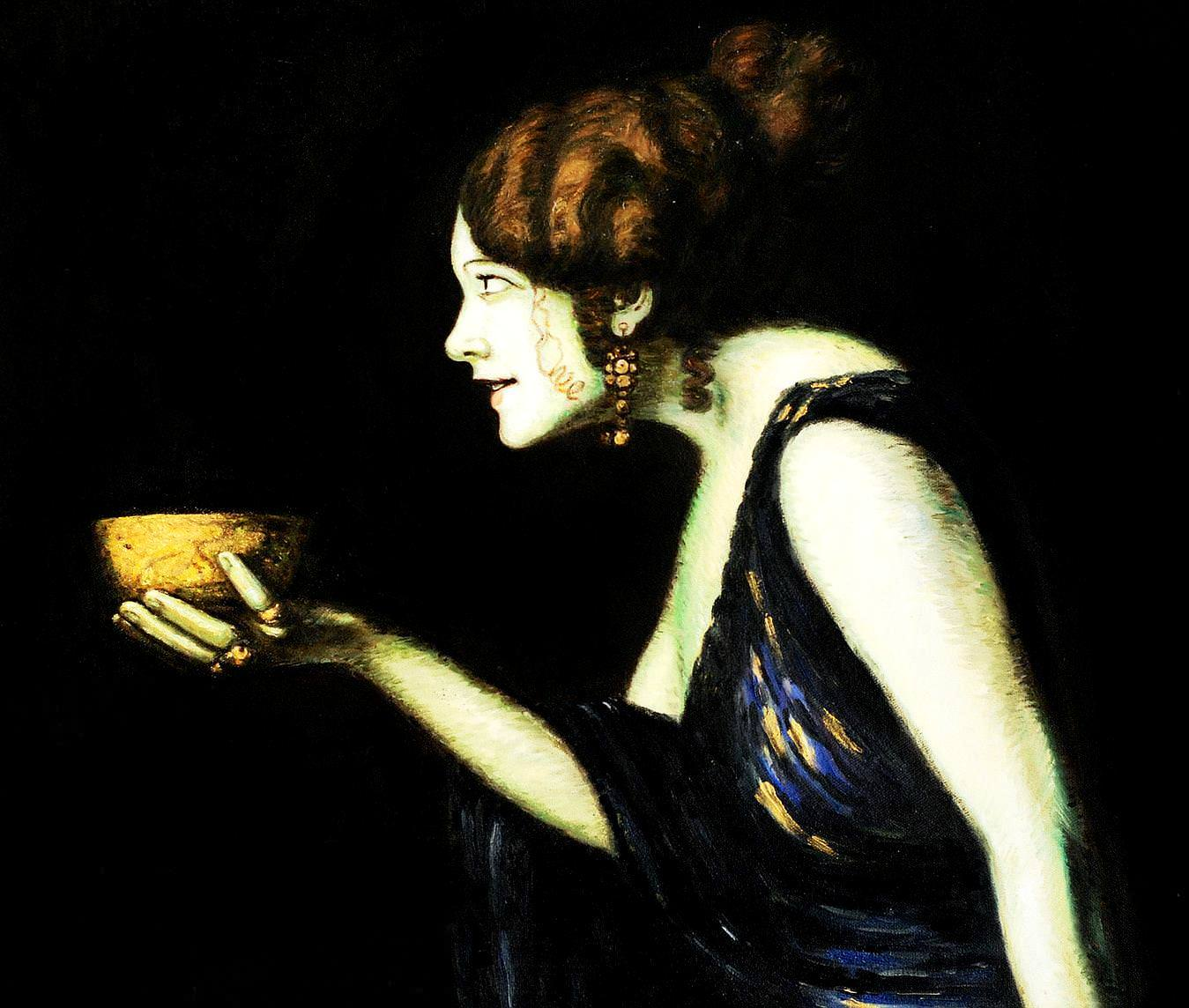 Franz von Stuck - Tilla Durieux als Circe c93605 50x60cm edles Ölgemälde handgemalt Museumsqualität