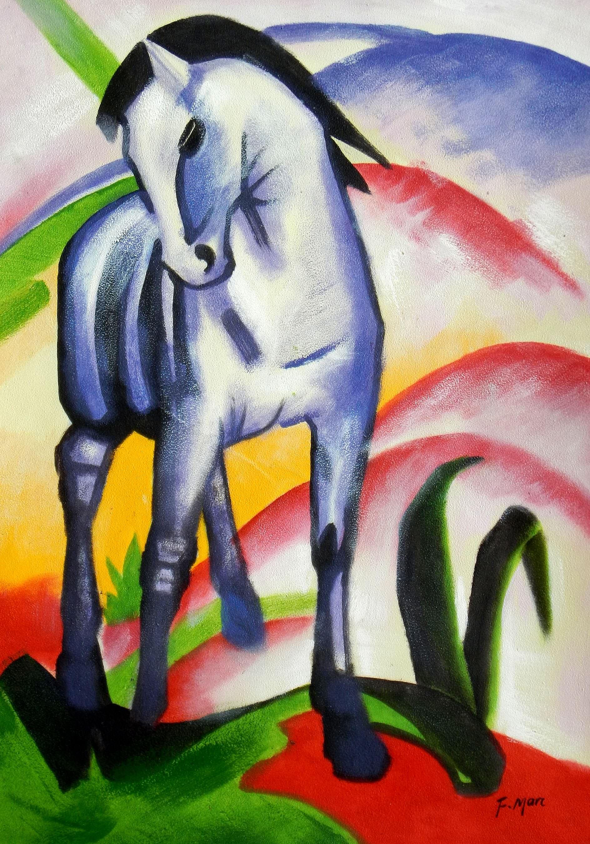 Franz Marc - Blaues Pferd d93346 60x90cm Expressionismus Ölgemälde
