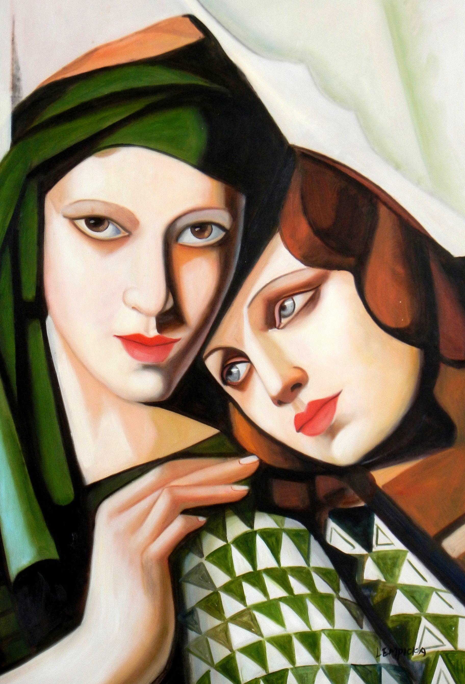 Homage of Tamara de Lempicka - Der grüne Turban d93347 60x90cm exquisites Ölbild
