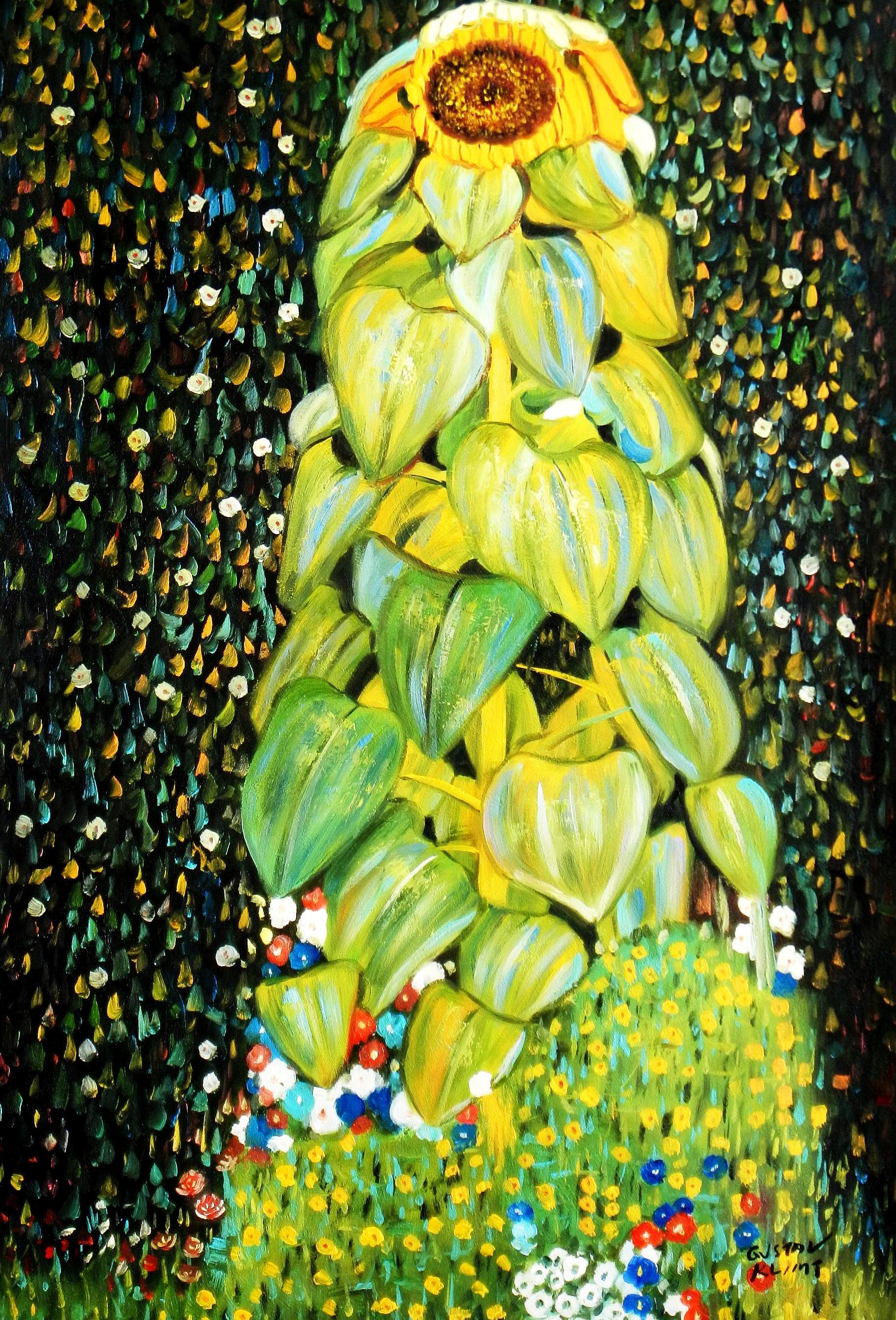 Gustav Klimt - Die Sonnenblume d93352 60x90cm handgemaltes Ölgemälde