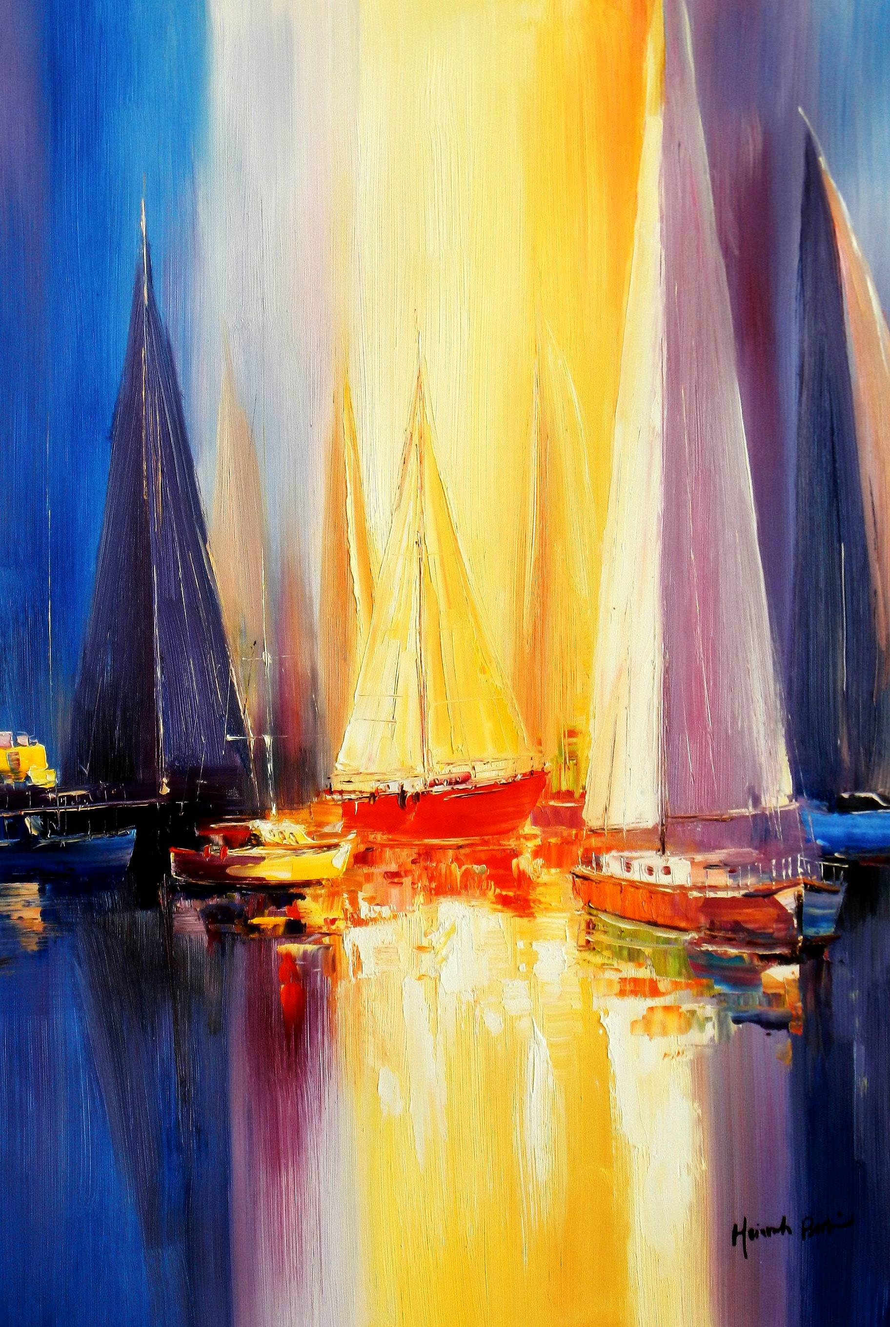 Segelboote auf dem Gardasee d93363 60x90cm modernes Gemälde handgemalt