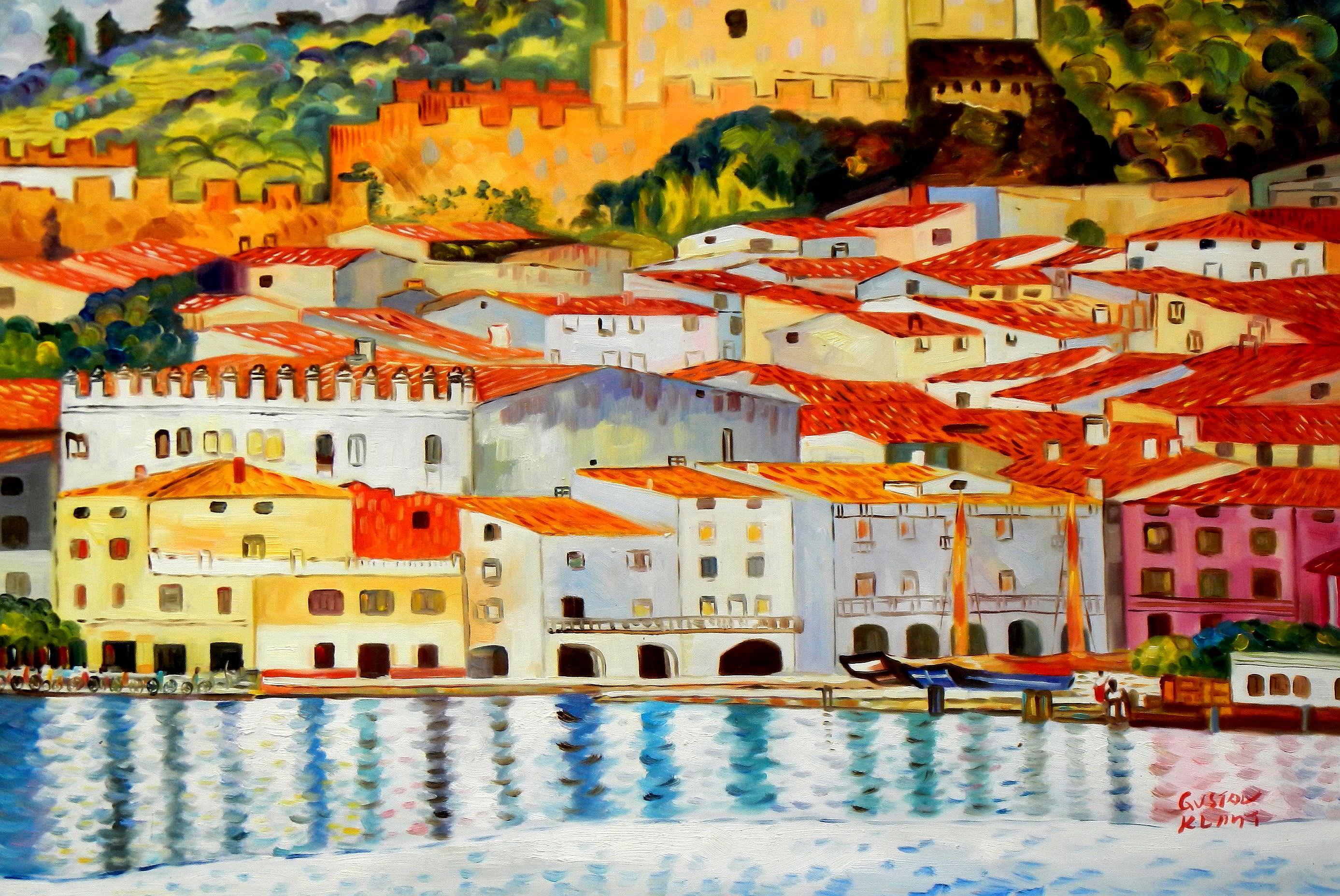 Gustav Klimt - Malcesine am Gardasee d93368 60x90cm Ölbild handgemalt