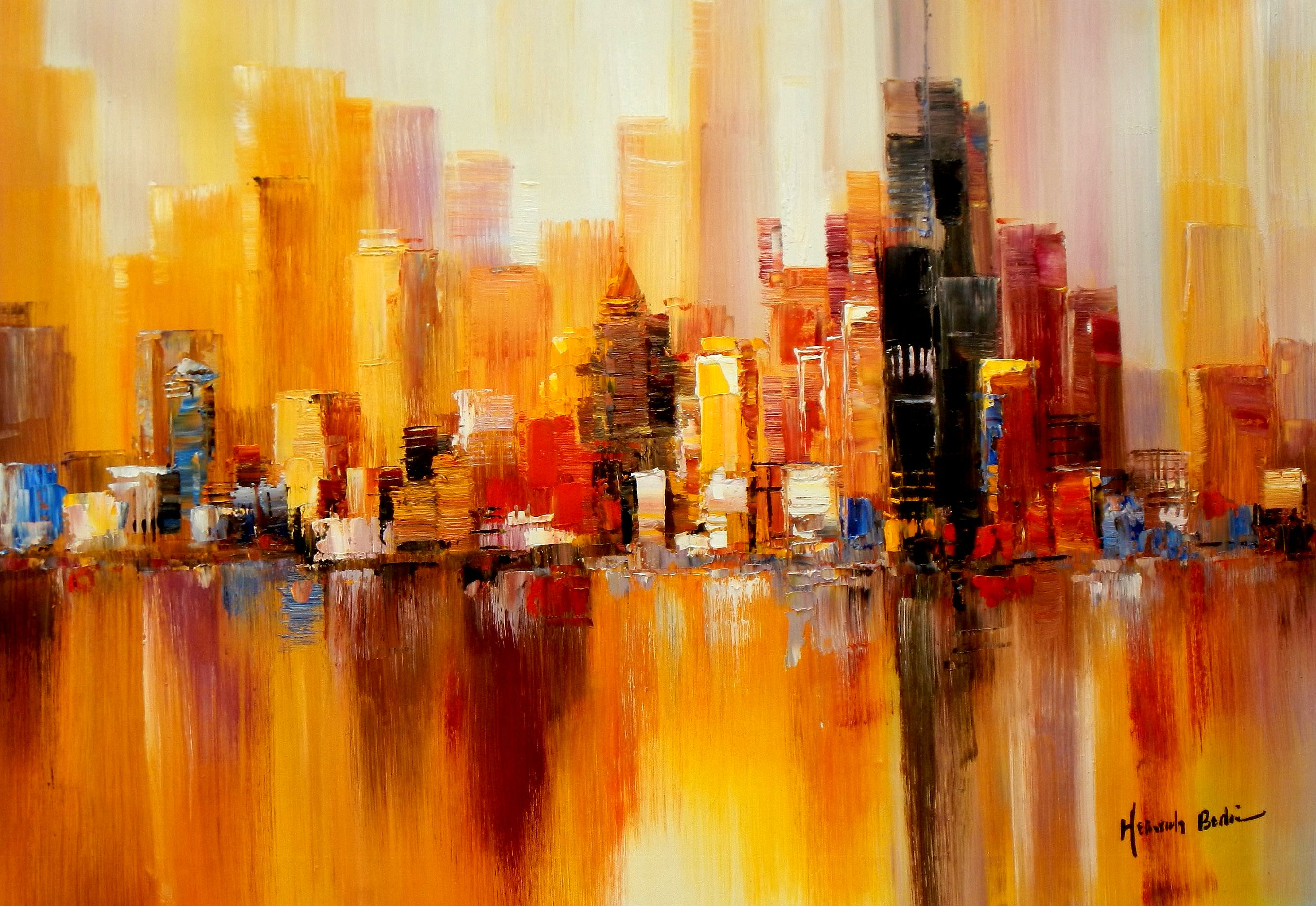 Abstrakt New York Manhattan Skyline im Herbst d93389 60x90cm abstraktes Ölbild