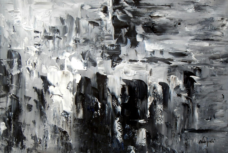 Abstrakt - Nacht in New York d93398 60x90cm Ölgemälde handgemalt