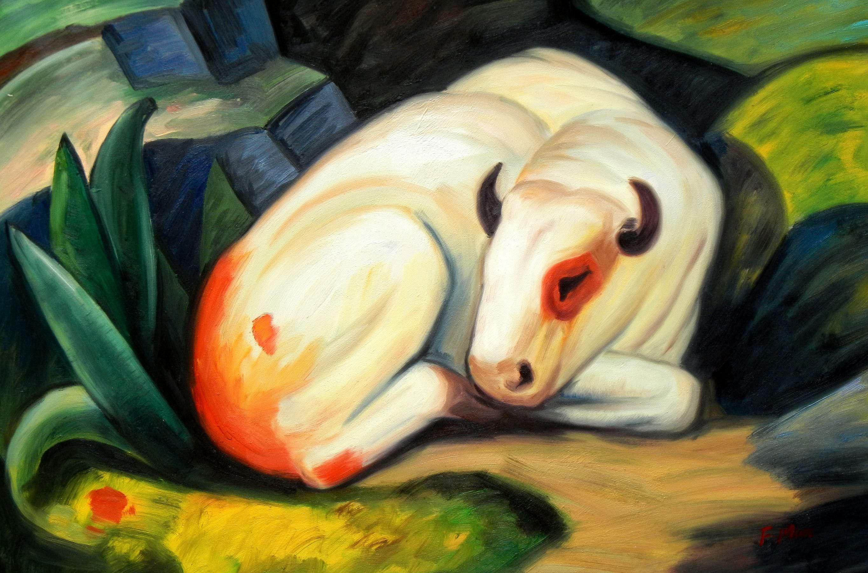 Franz Marc - Der weiße Bulle d93401 60x90cm Expressionismus Ölgemälde