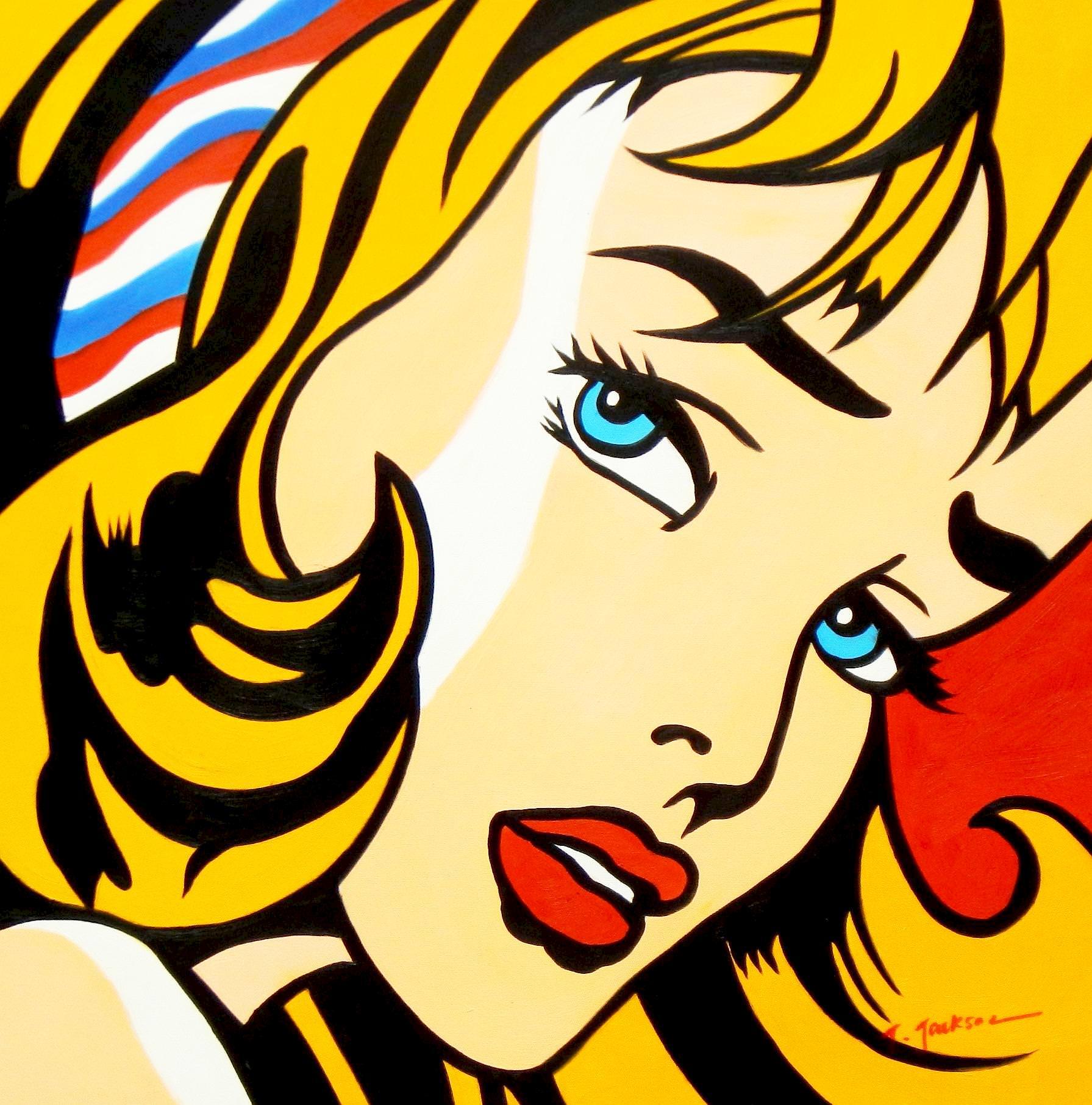 Homage to Roy Lichtenstein - Mädchen mit Haarband e93415 60x60cm Ölbild handgemalt