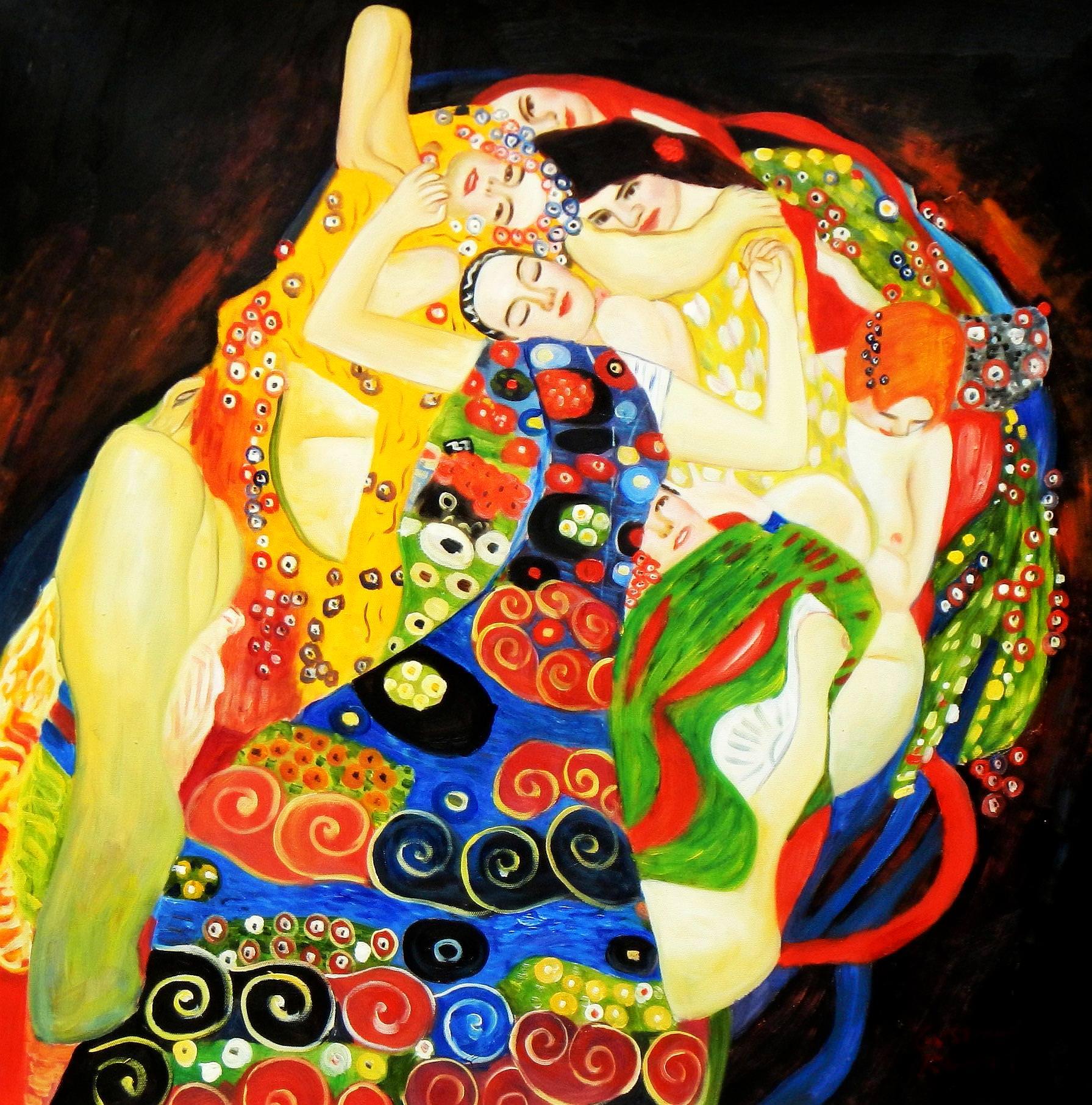 Gustav Klimt - Jungfrauen e93417 60x60cm Jugendstil Ölgemälde handgemalt