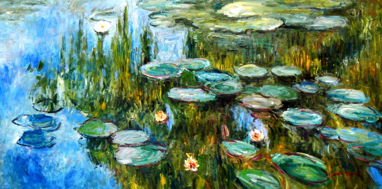 Claude Monet - Seerosen im Frühling f93442 60x120cm Ölgemälde handgemalt