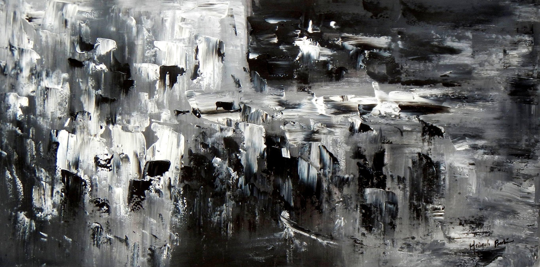 Abstrakt - Nacht in New York f93448 60x120cm Ölgemälde handgemalt