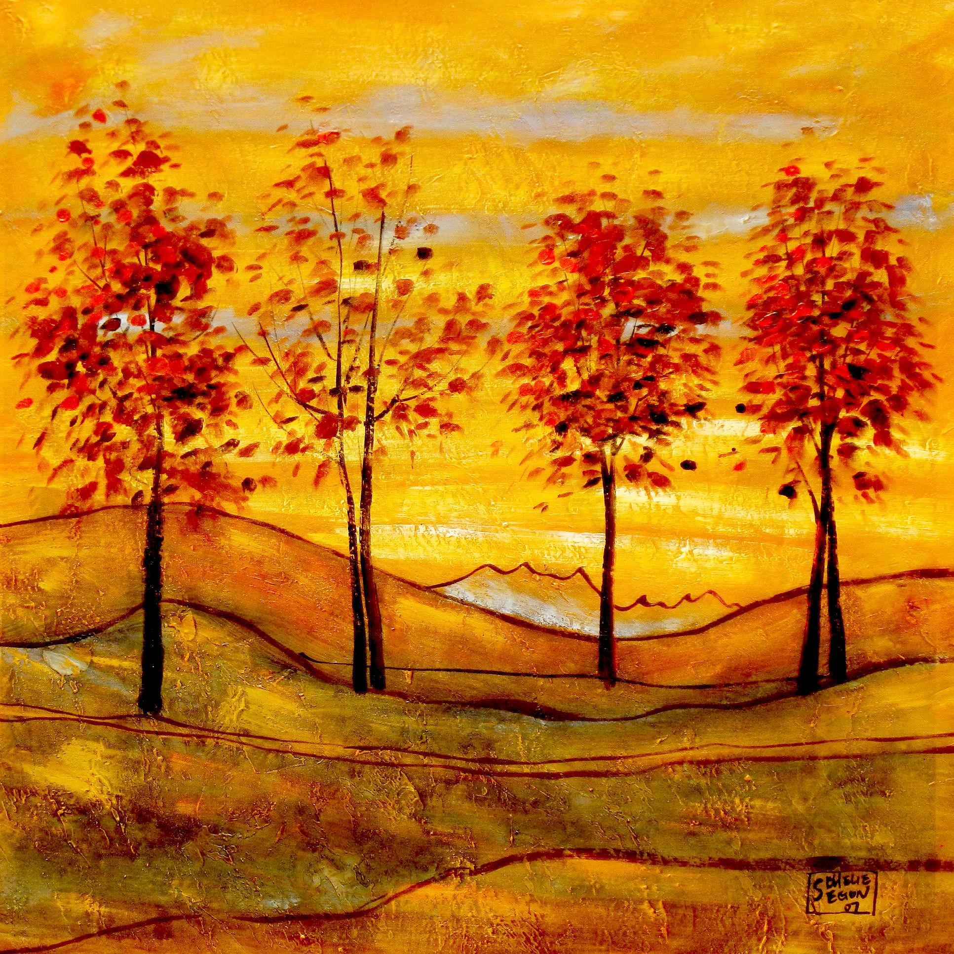 Egon Schiele - Vier Bäume g93452 80x80cm exzellentes Ölbild