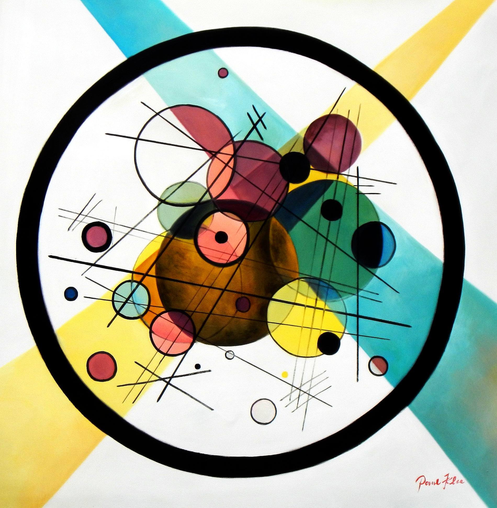 Homage to Kandinsky - Variation der Querlinie g93460 80x80cm Ölbild handgemalt