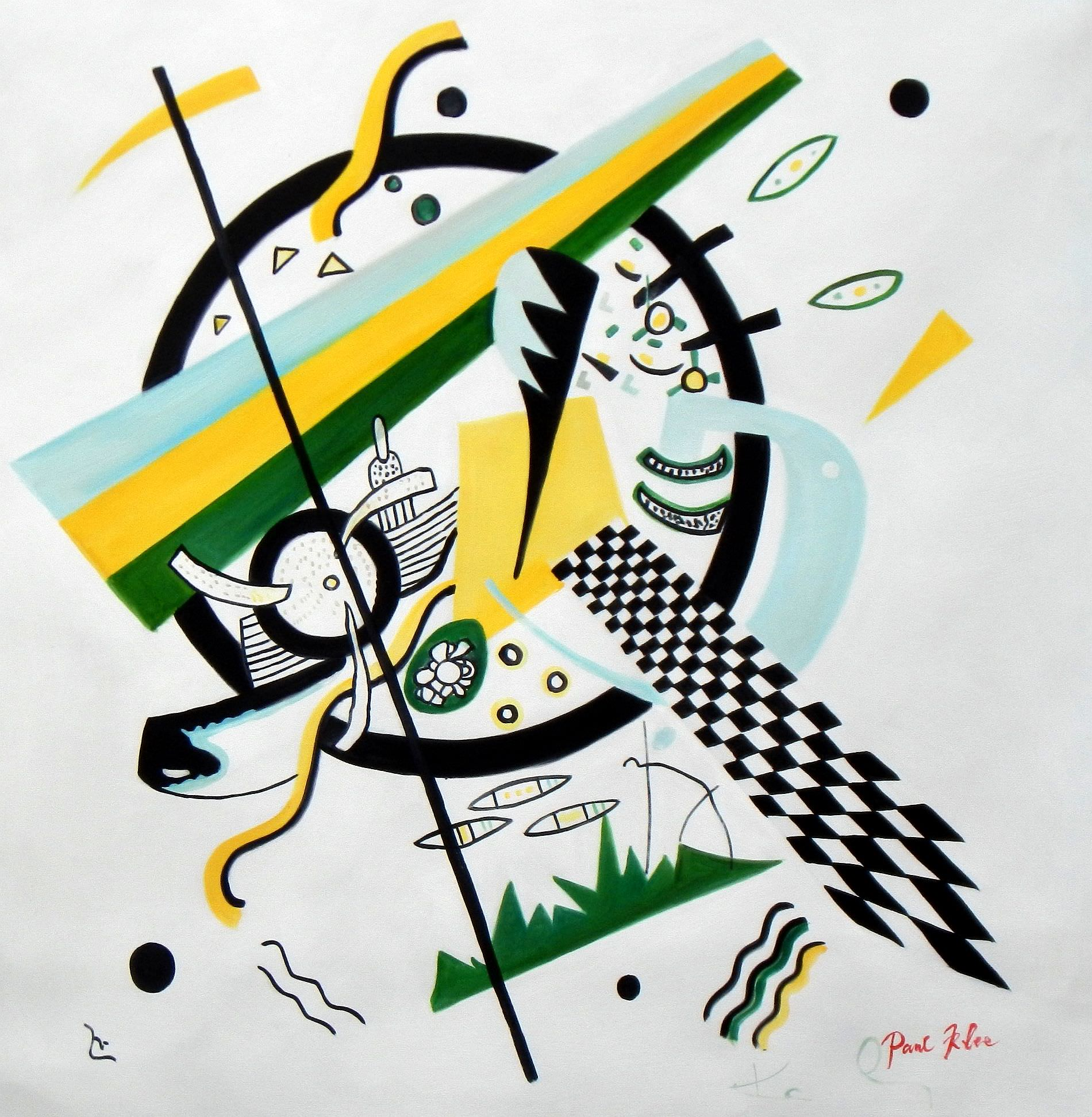 Homage to Kandinsky - Variation der Querlinie g93463 80x80cm Ölbild handgemalt