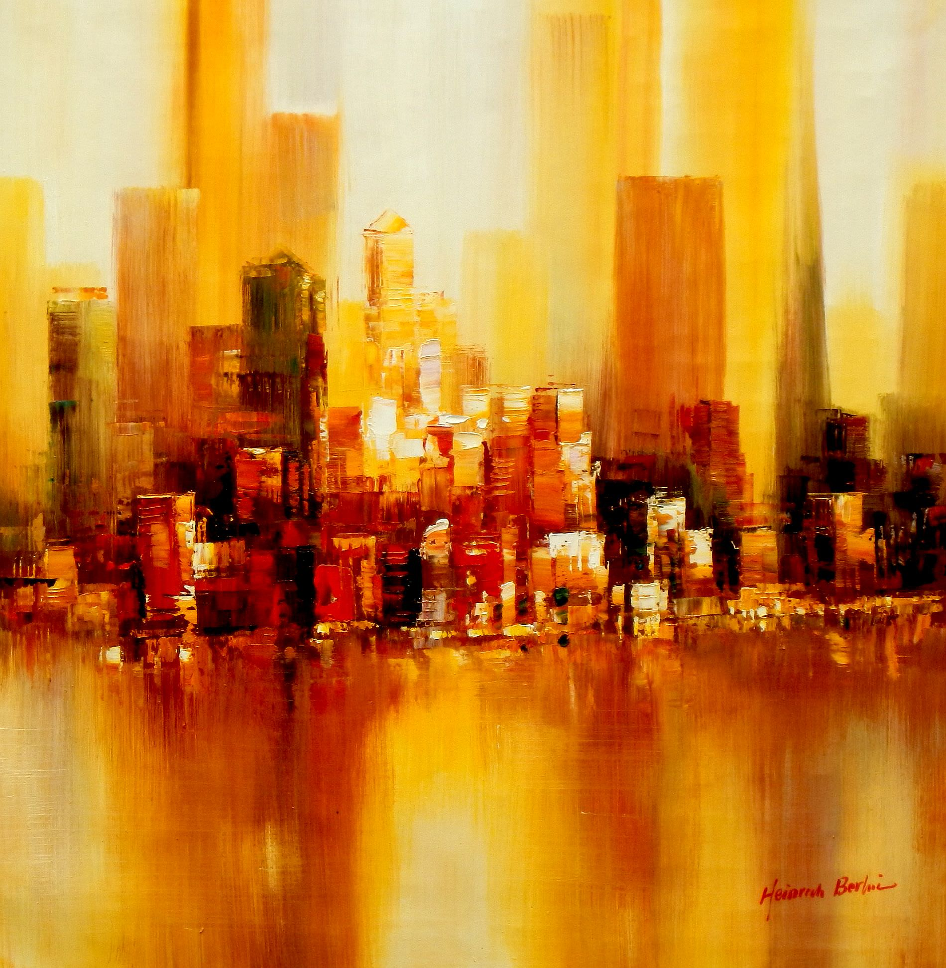 Abstrakt New York Manhattan Skyline im Herbst g93469 80x80cm abstraktes Ölbild