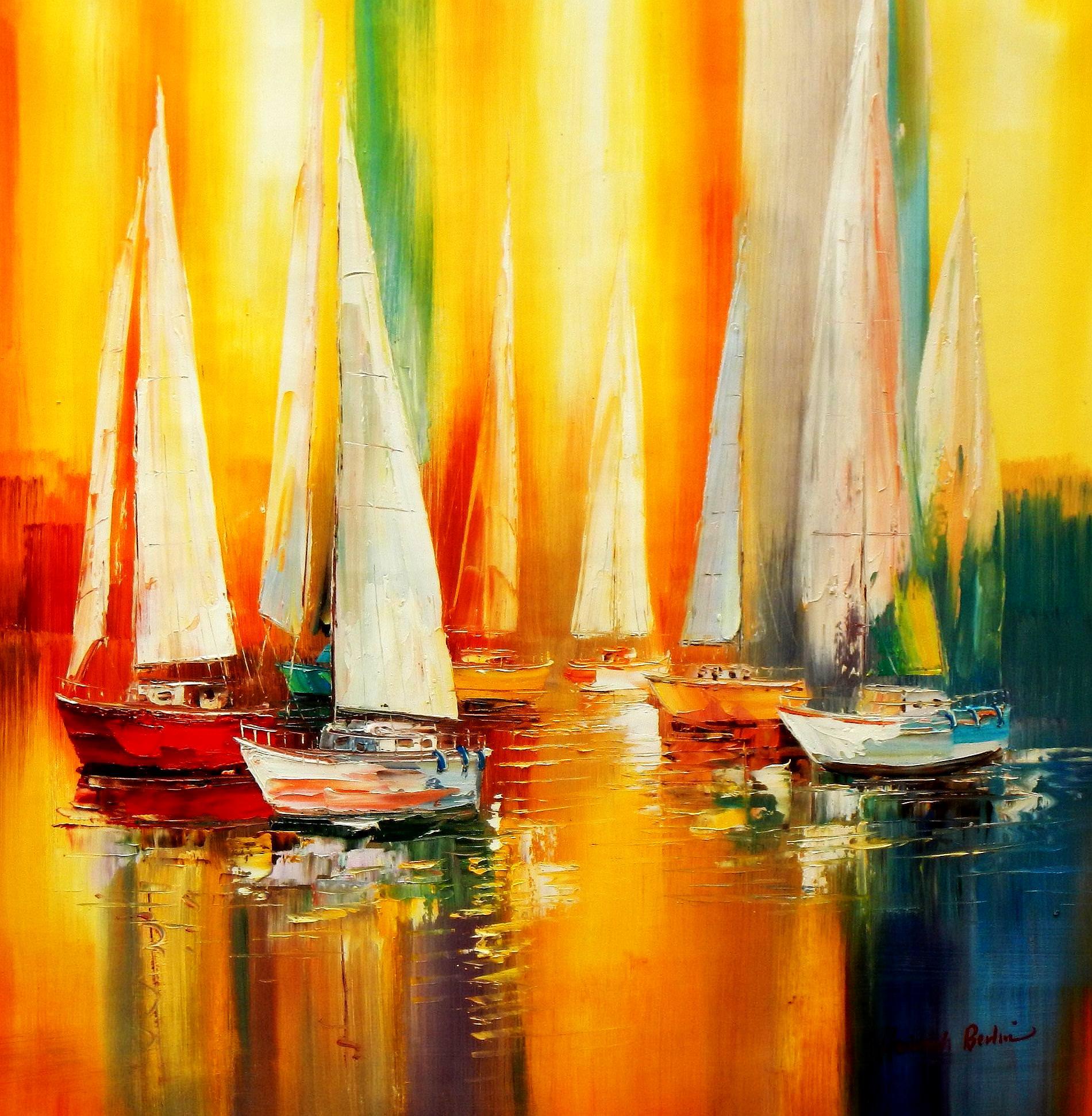 Segelboote auf dem Gardasee g93473 80x80cm modernes Gemälde handgemalt