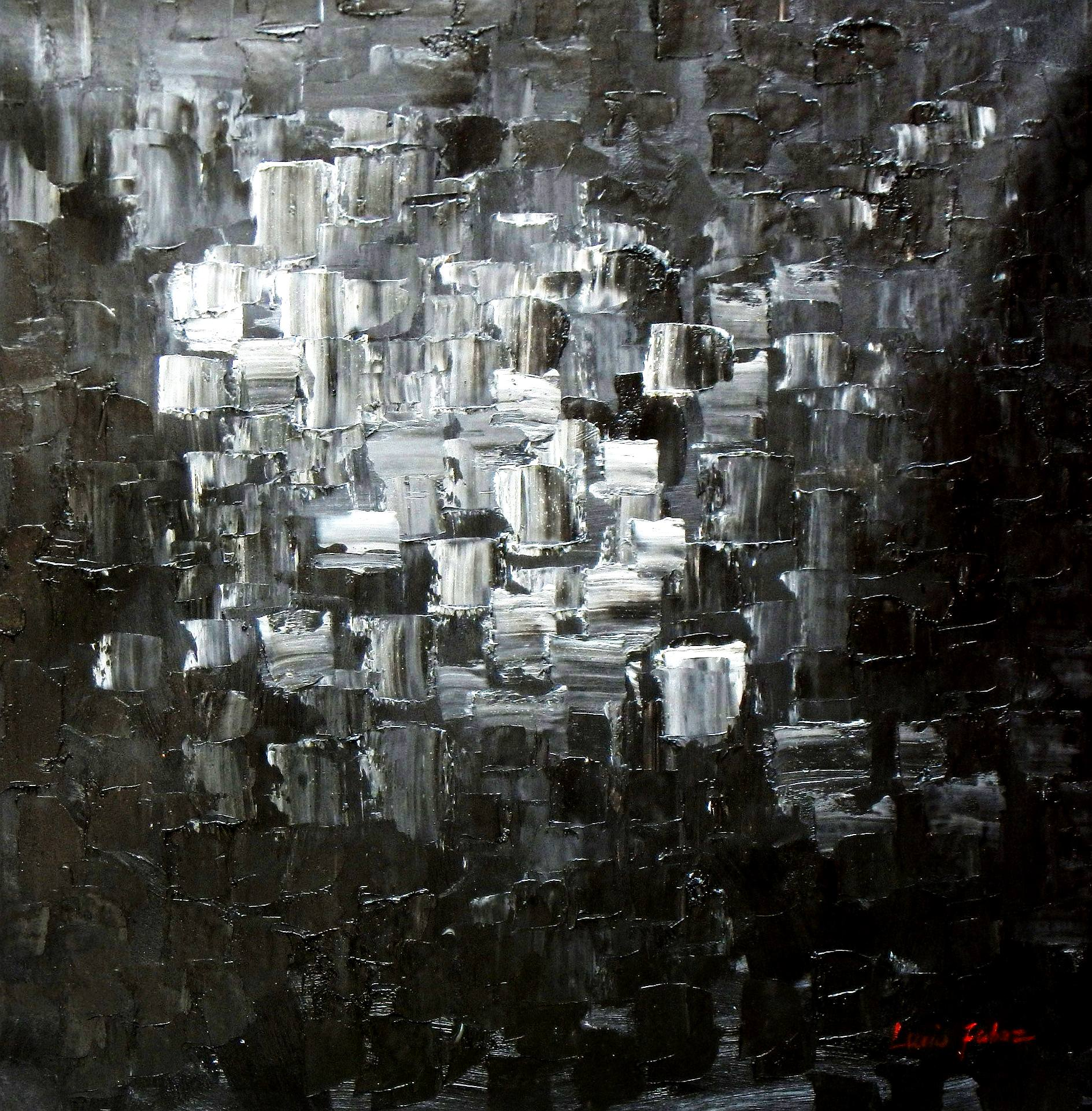 Abstrakt - Nacht in New York g93475 80x80cm Ölgemälde handgemalt