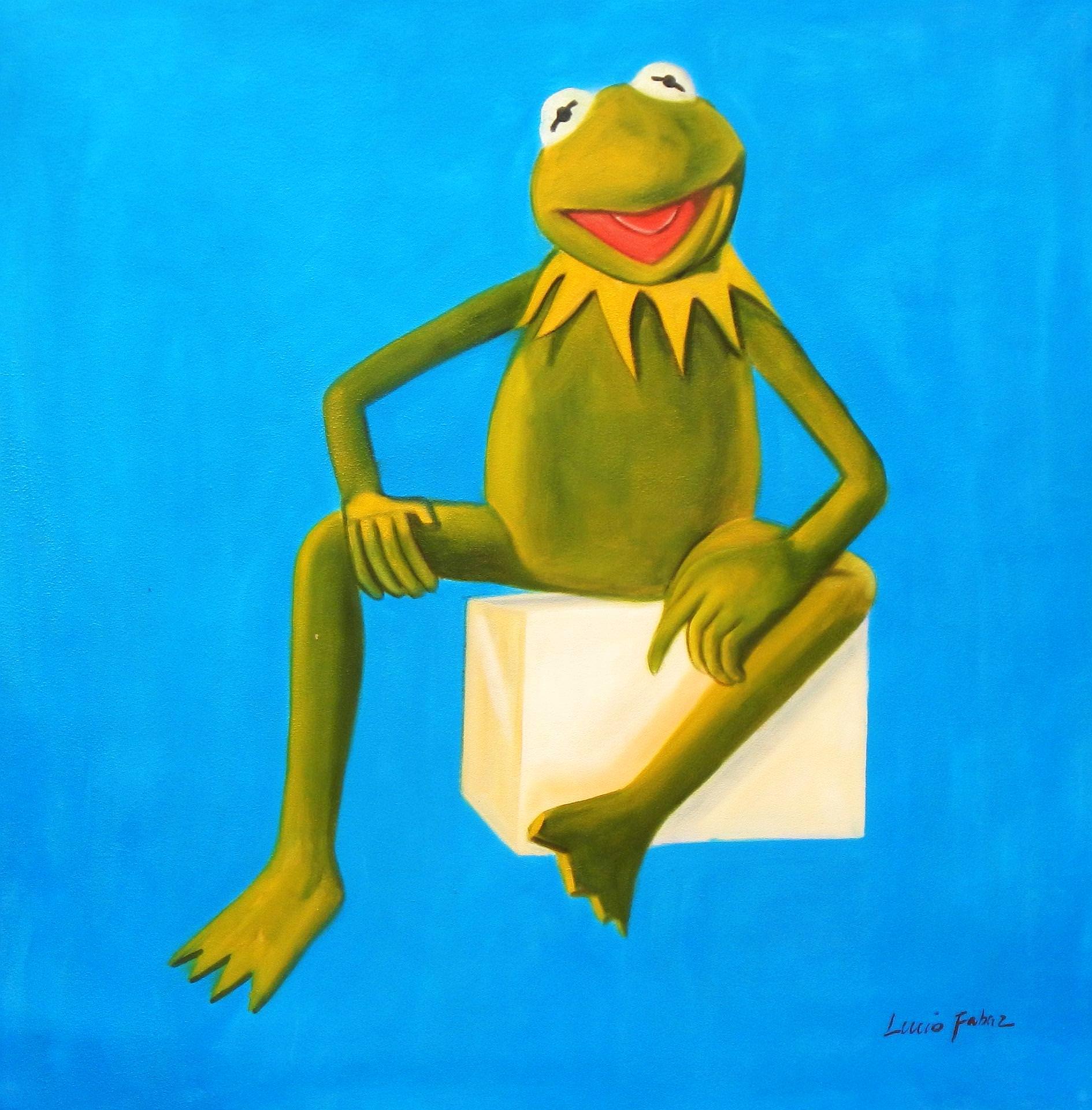 Pop Art - Muppets Kermit auf Blau g93478 80x80cm spektakuläres Ölbild handgemalt