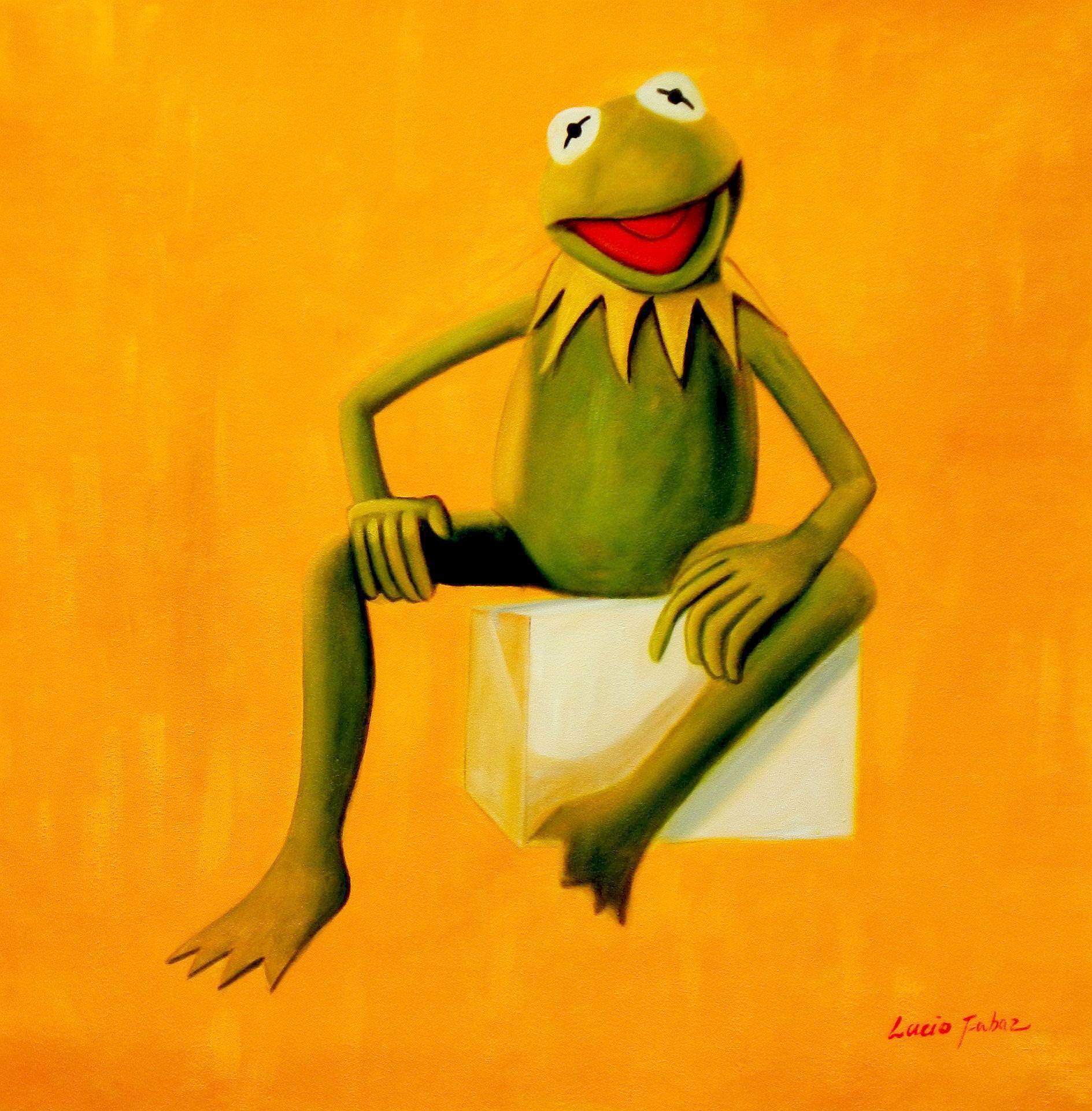 Pop Art - Muppets Kermit auf Gelb g93479 80x80cm spektakuläres Ölbild handgemalt