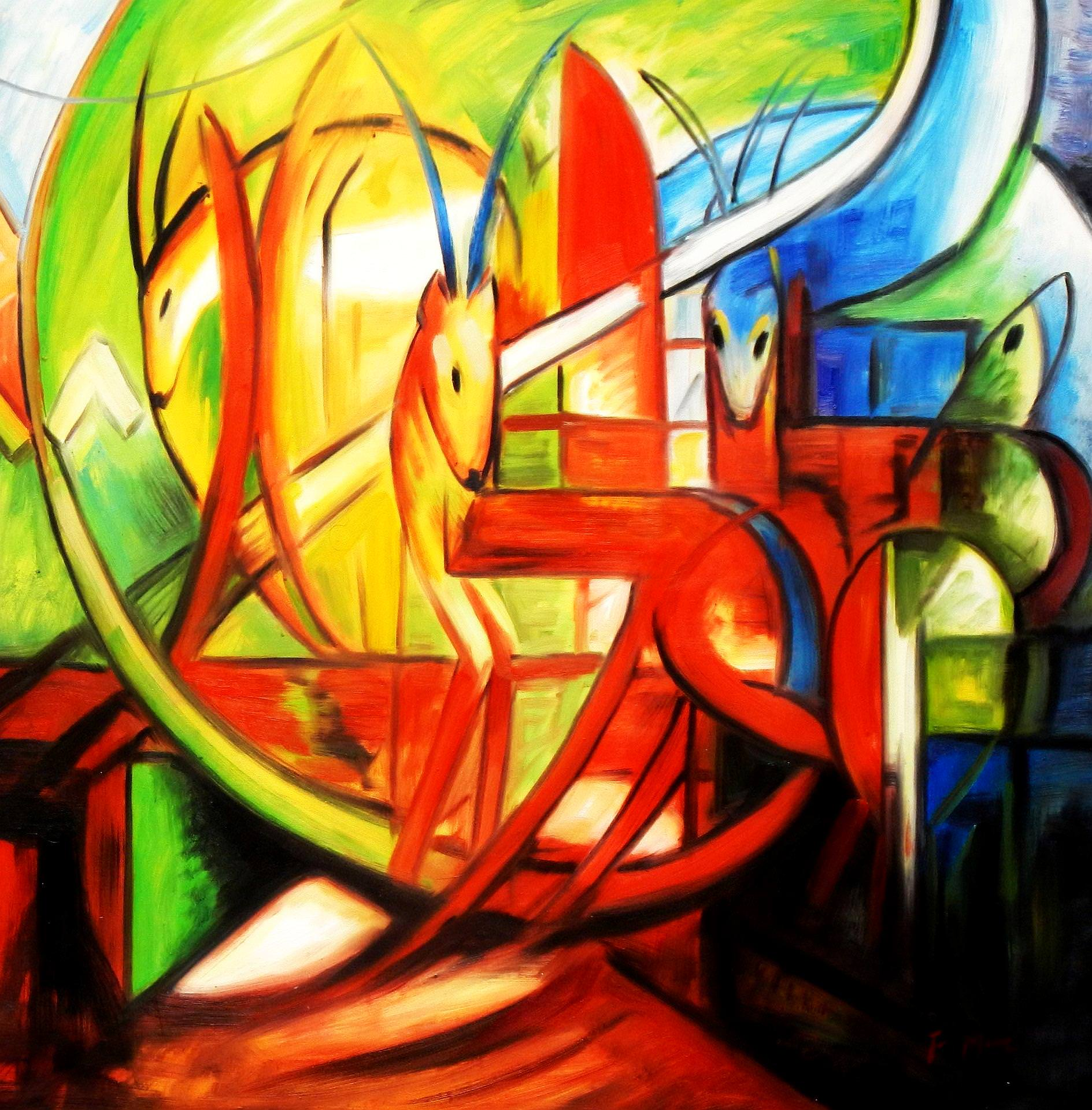 Franz Marc - Gazellen g93482 80x80cm Expressionismus Ölgemälde