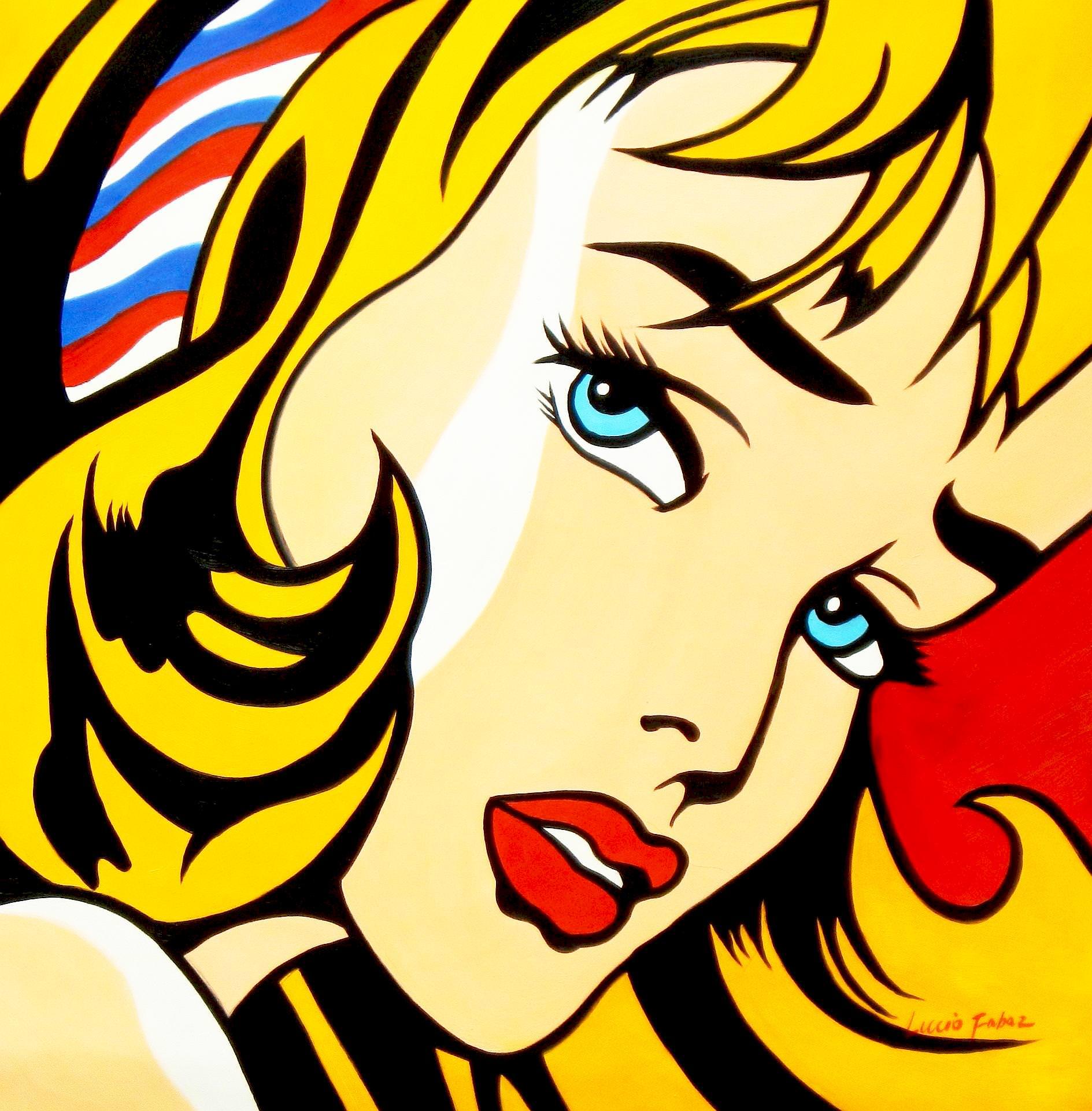 Homage to Roy Lichtenstein - Mädchen mit Haarband g93484 80x80cm Ölbild handgemalt