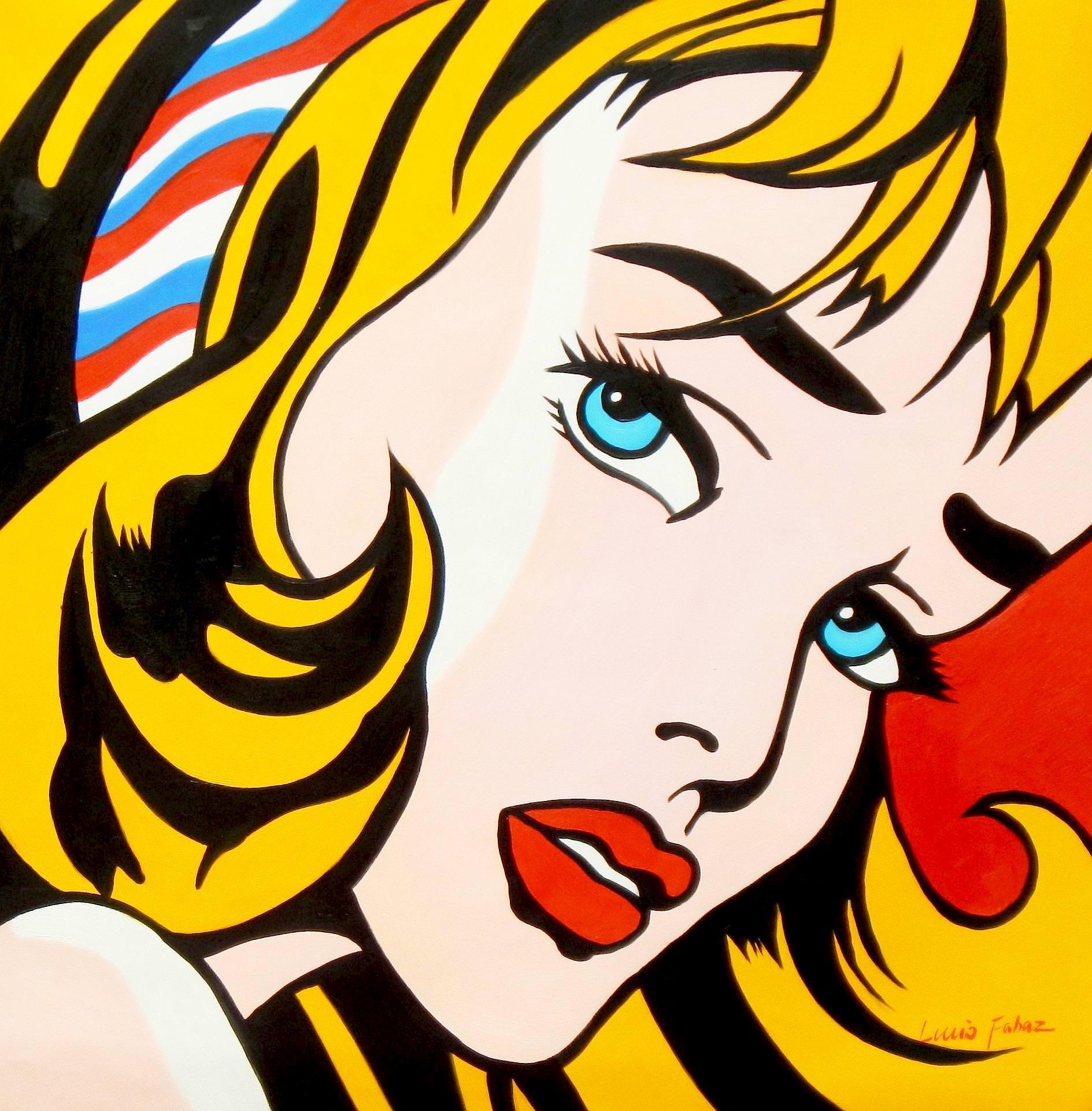 Homage to Roy Lichtenstein - Mädchen mit Haarband g93485 80x80cm Ölbild handgemalt