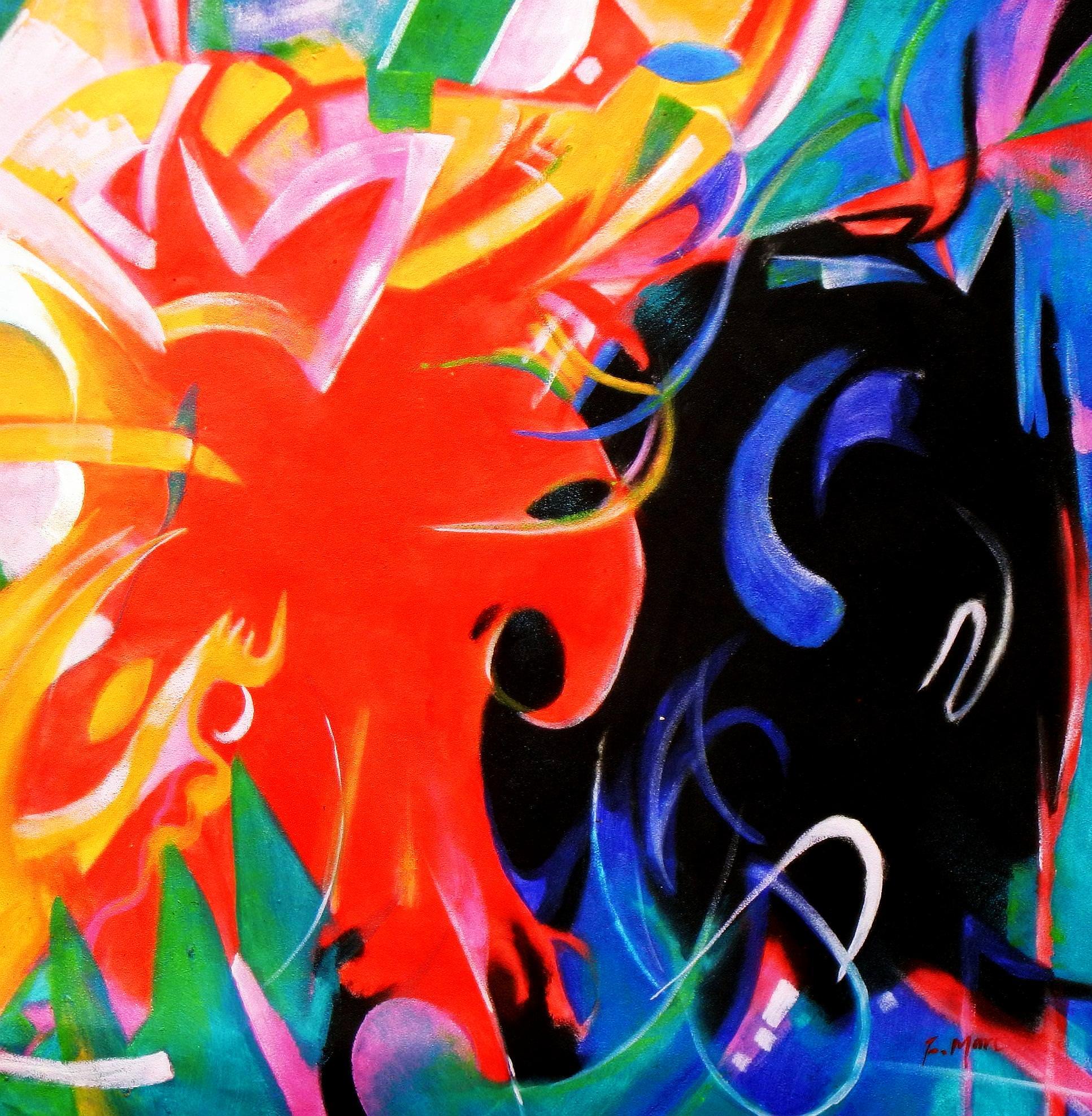 Franz Marc - Fighting Forms g93486 G 80x80cm Expressionismus Ölgemälde