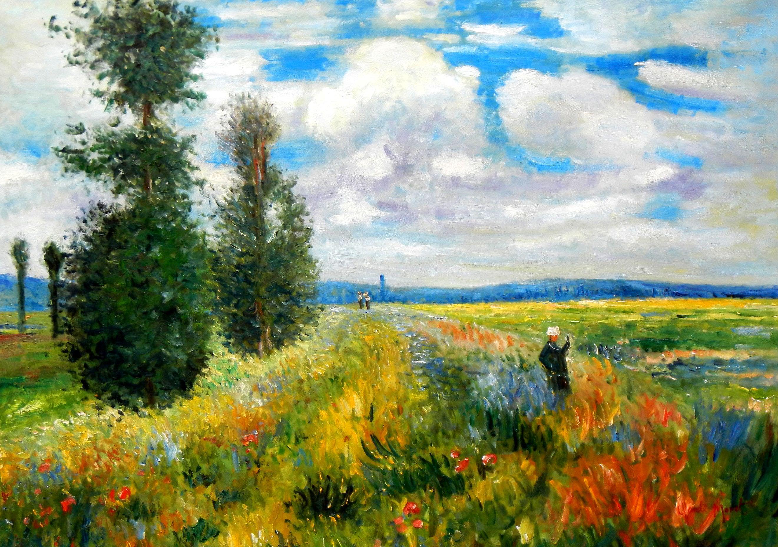 Claude Monet - Mohnblumenfeld bei Argenteuil i93505 80x110cm Ölbild handgemalt