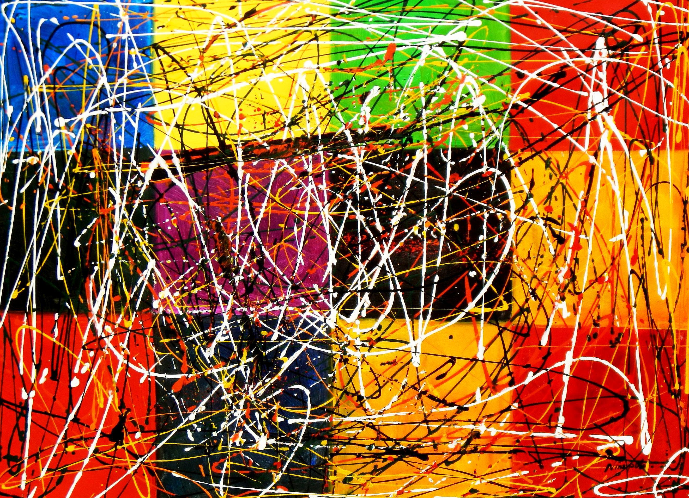 Homage of Pollock - Dripping over cubes i93507 80x110cm abstraktes Ölgemälde handgemalt