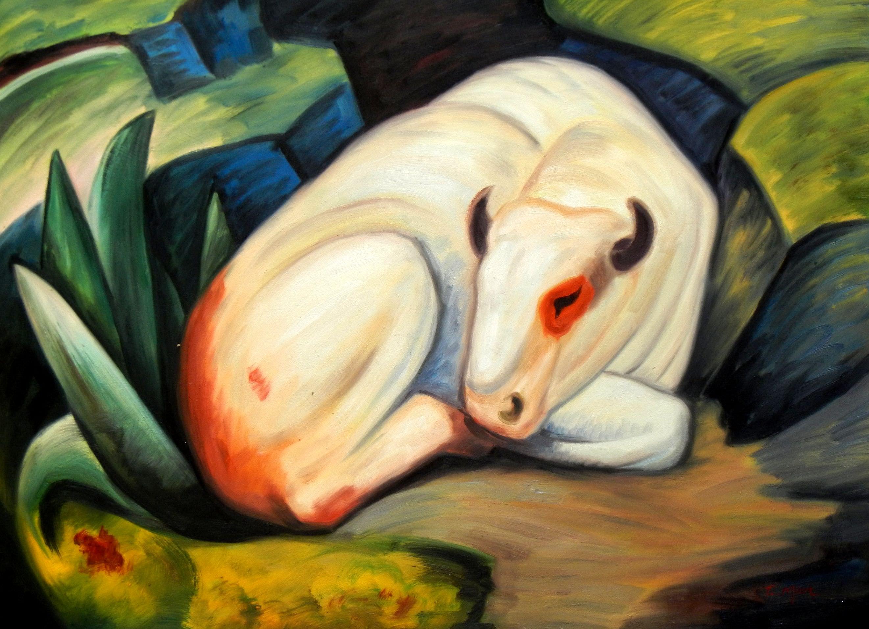 Franz Marc - Der weiße Bulle i93516 80x110cm Expressionismus Ölgemälde