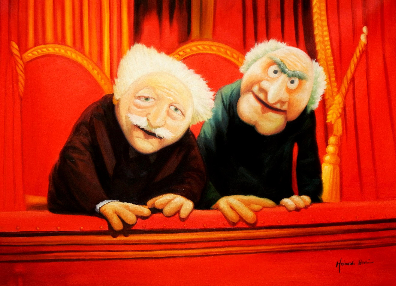Muppet Opas Waldorf & Statler Pop Art i93519 80x110cm großartiges Ölbild