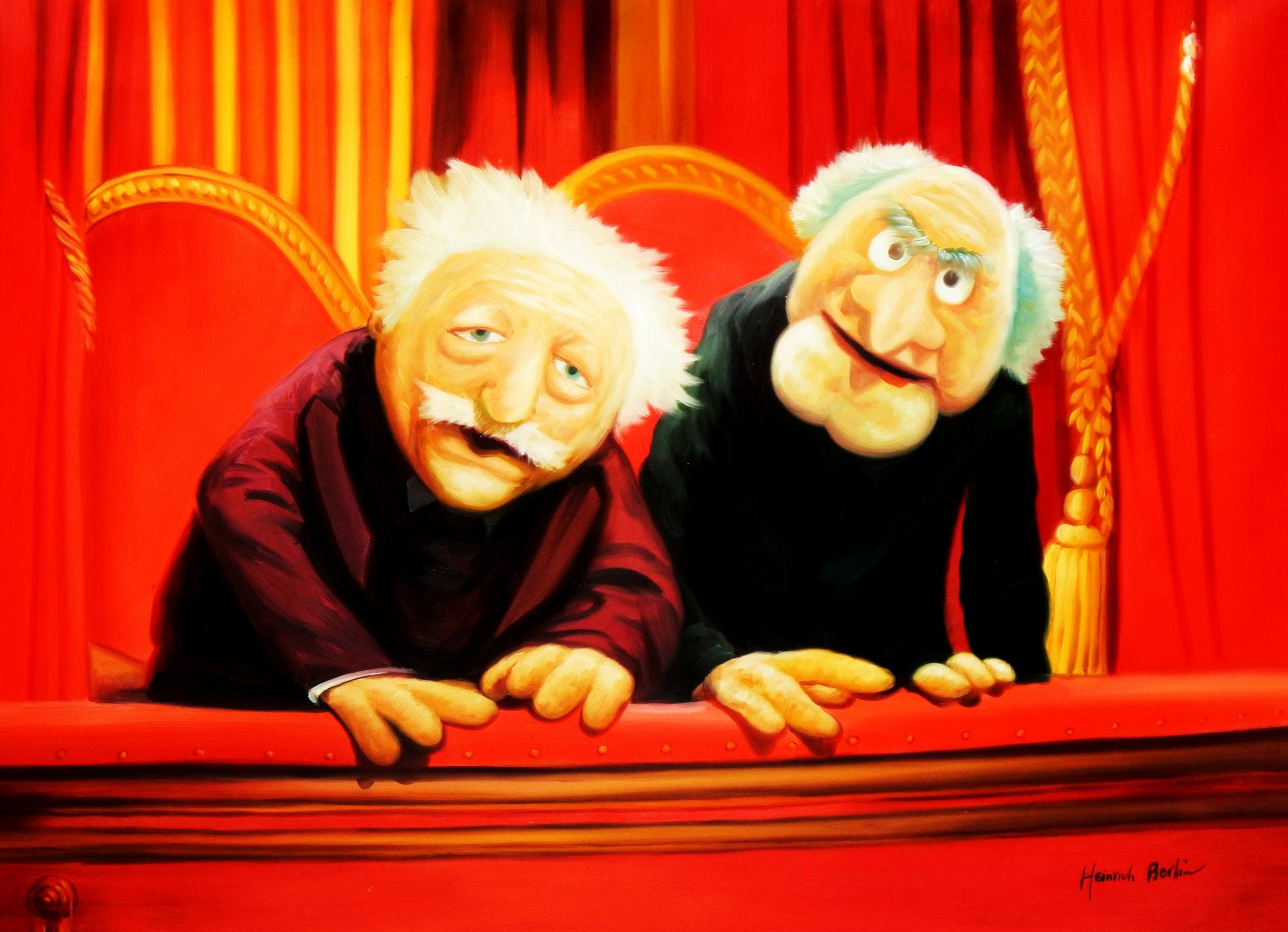 Muppet Opas Waldorf & Statler Pop Art i93520 80x110cm großartiges Ölbild